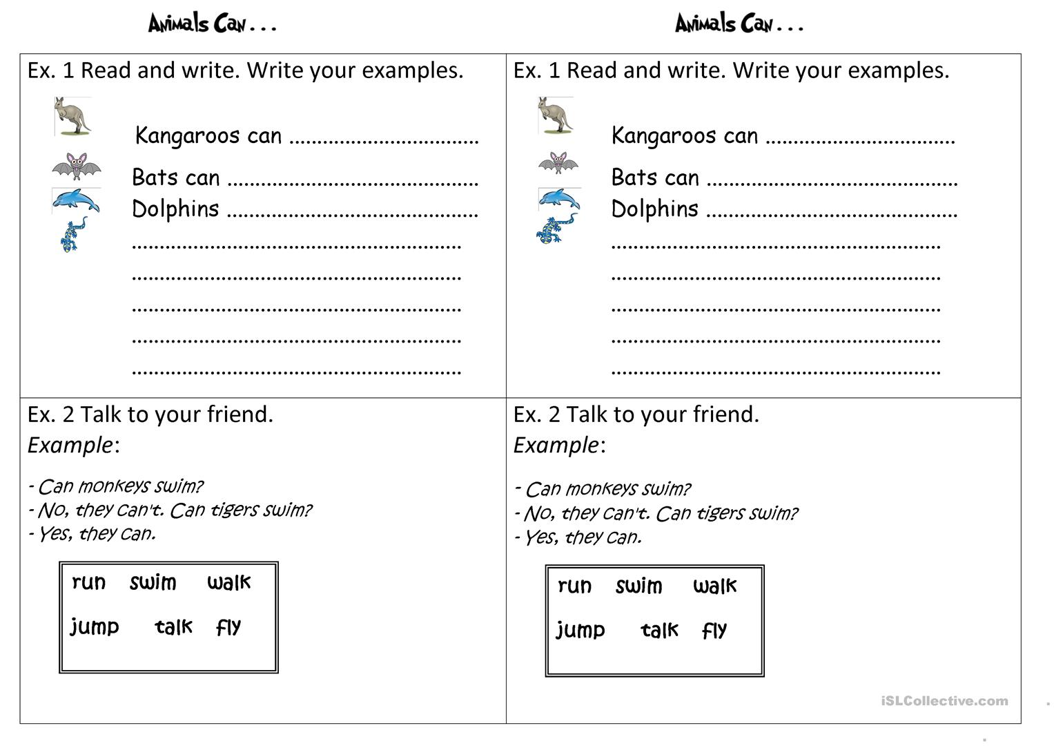 Animals Can Worksheet