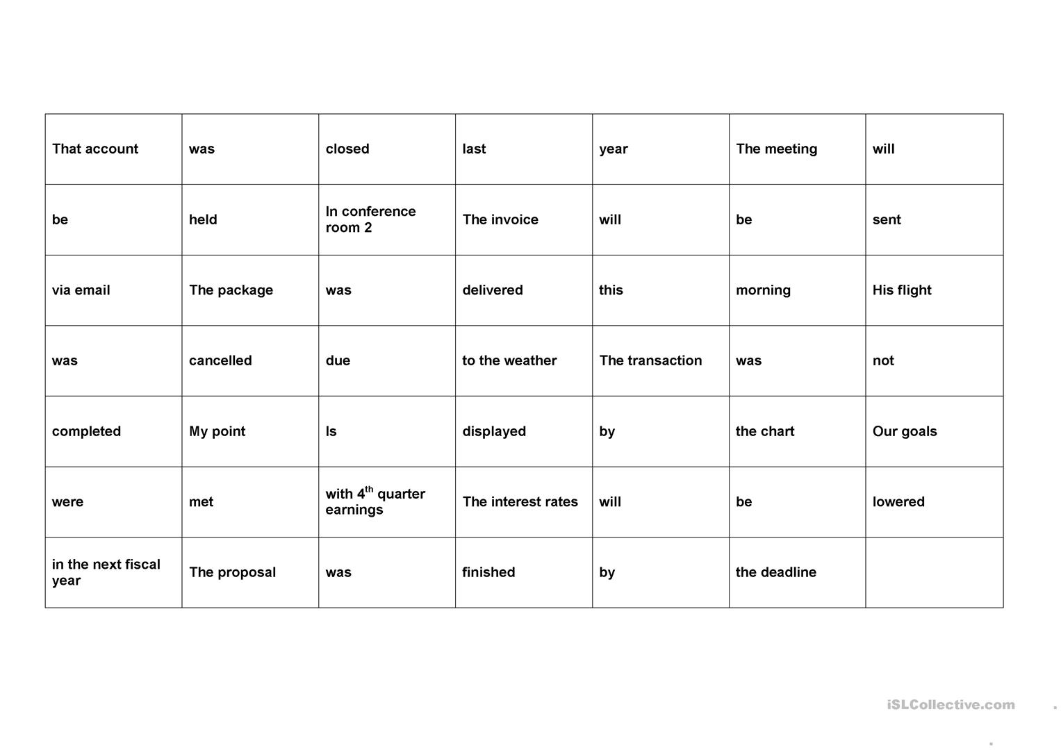 Business English Passive Scramble Worksheet