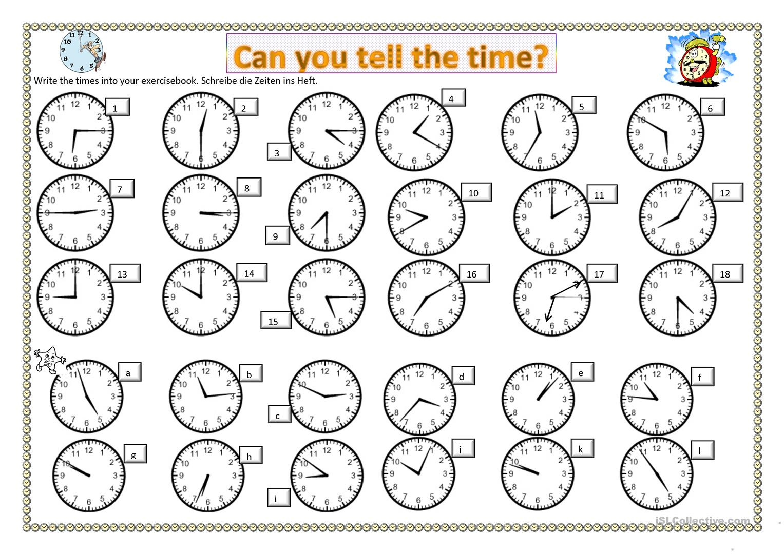 Can You Tell The Time Worksheet