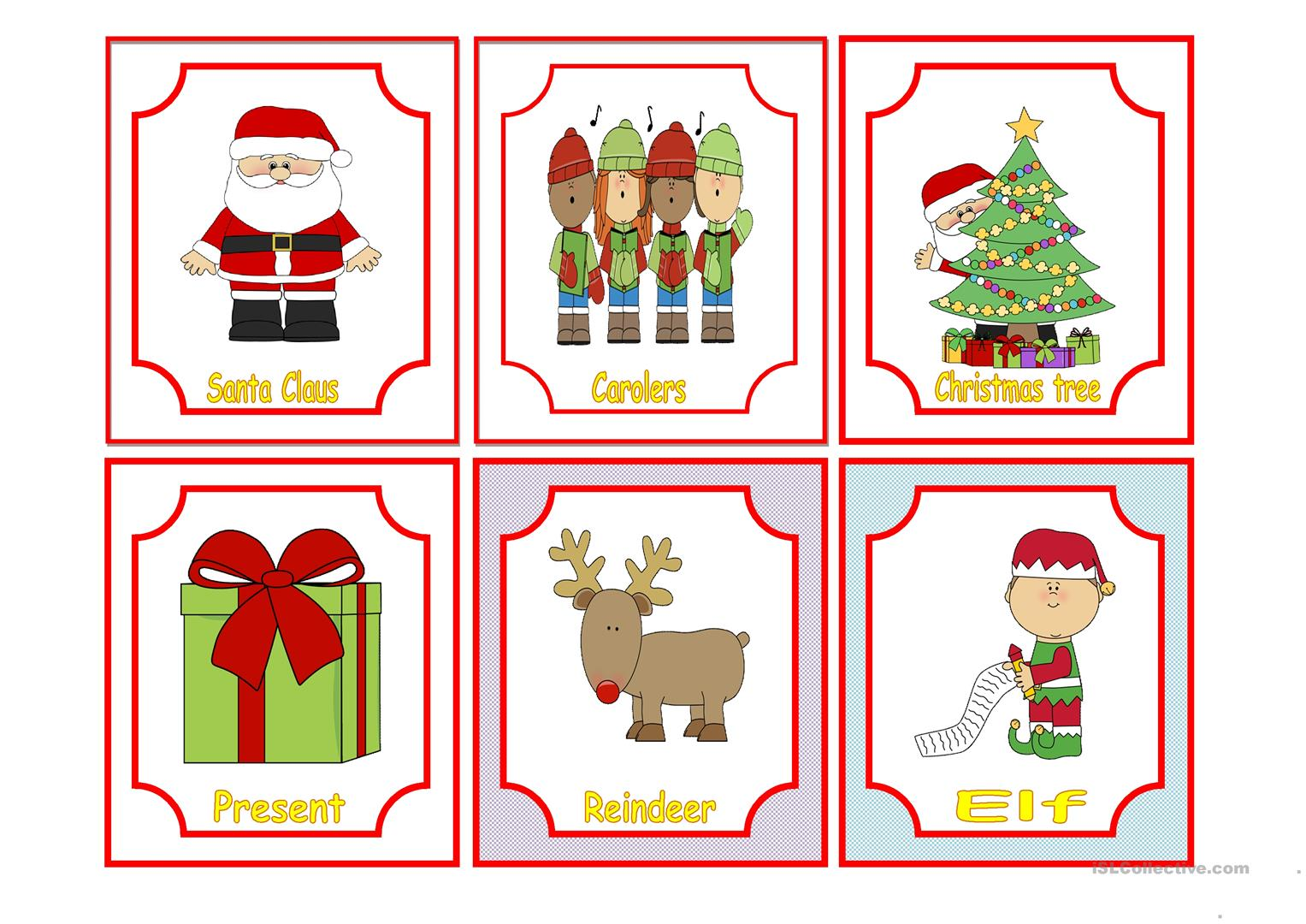 Christmas Flashcards Worksheet