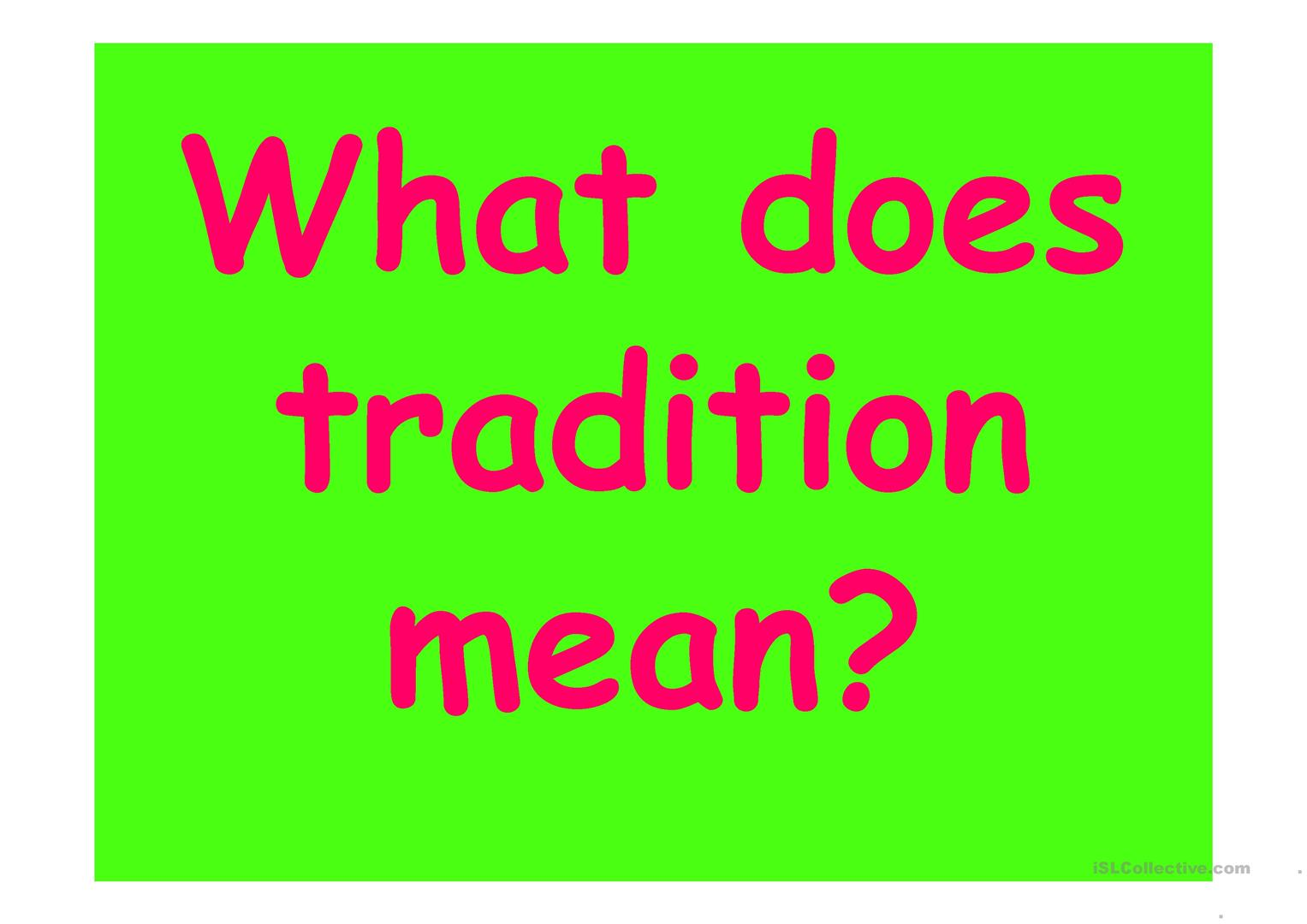 Family Traditions Ppt Worksheet