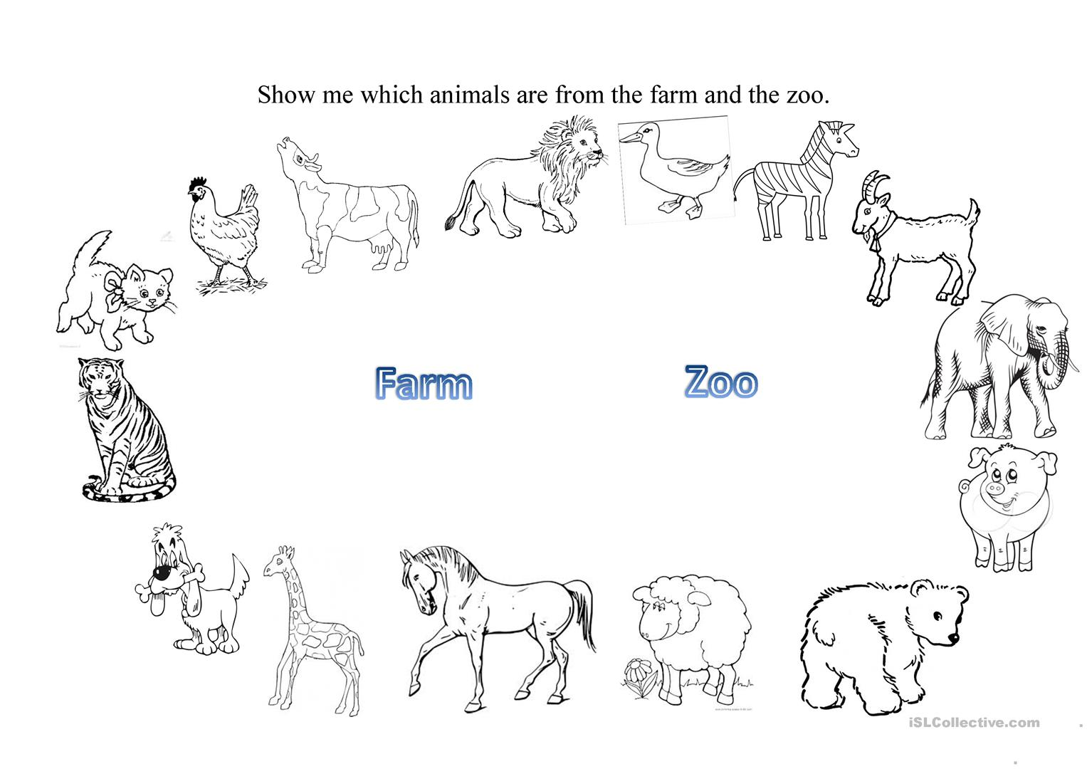 Esl Worksheet Farm Animals
