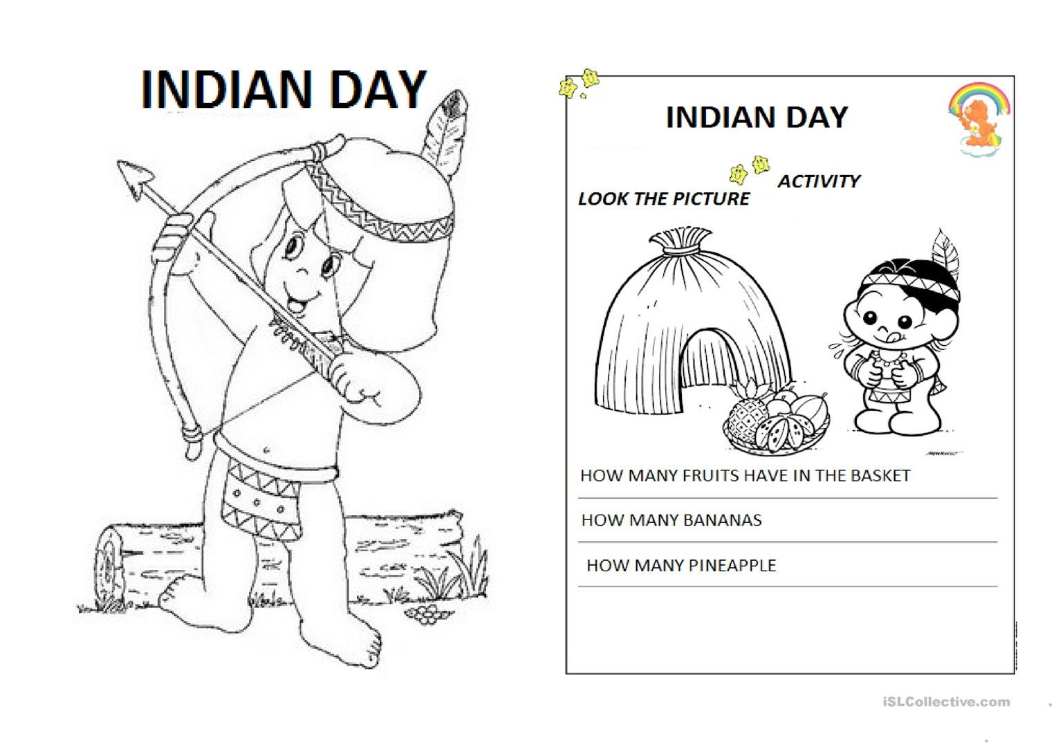 Indian Day Worksheet