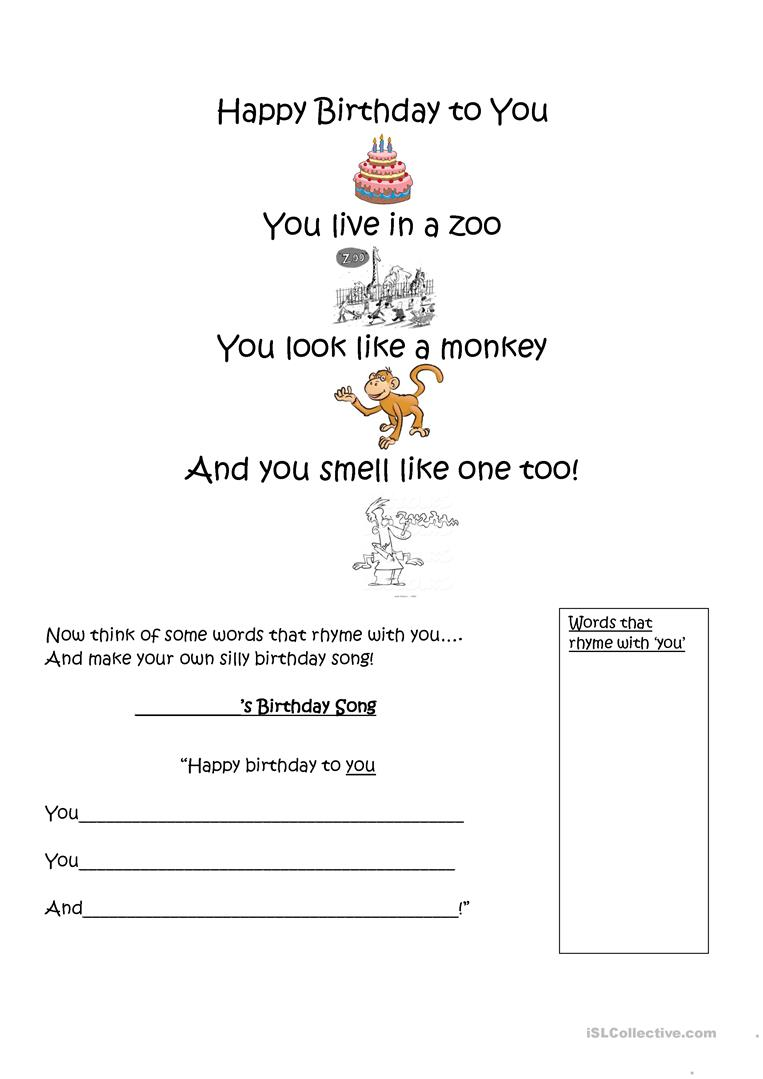 Silly Happy Birthday Song English Esl Worksheets For Distance Learning And Physical Classrooms
