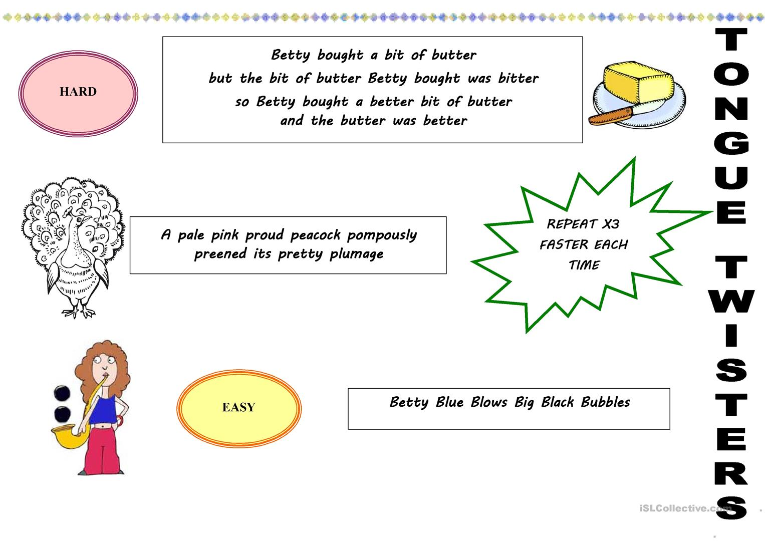 Tongue Twisters Worksheet