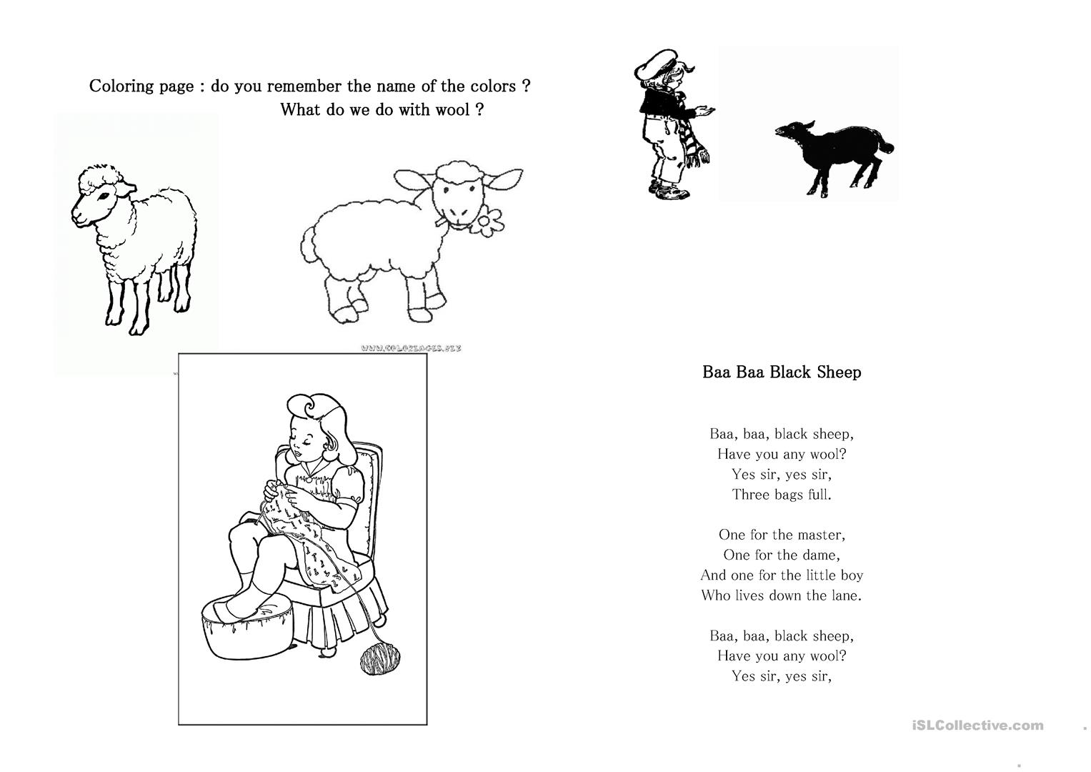 Baa Baa Black Sheep Worksheet