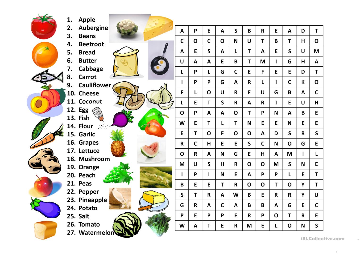 Food Word Search Worksheet