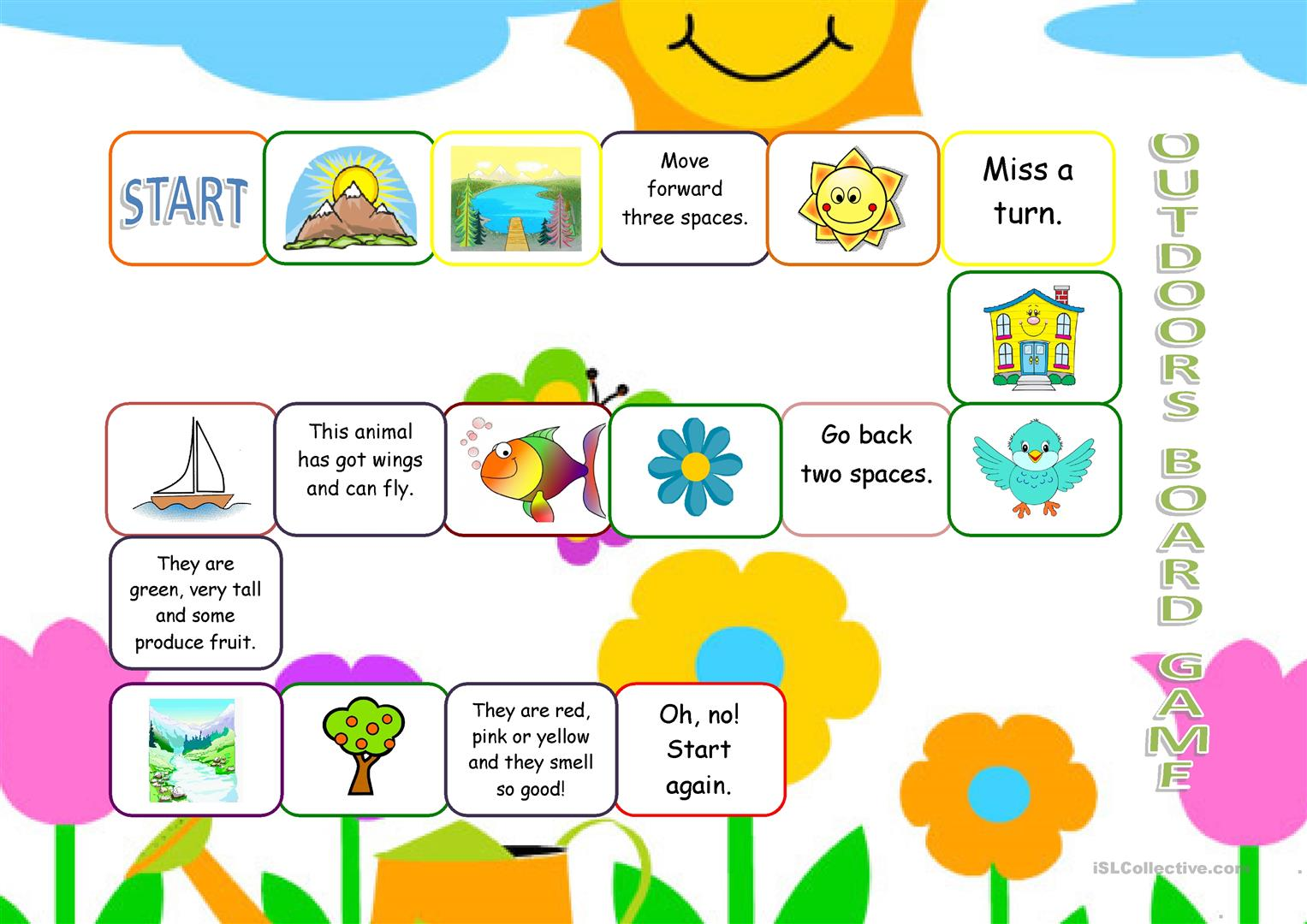 Outdoors Vocabulary Board Game Worksheet