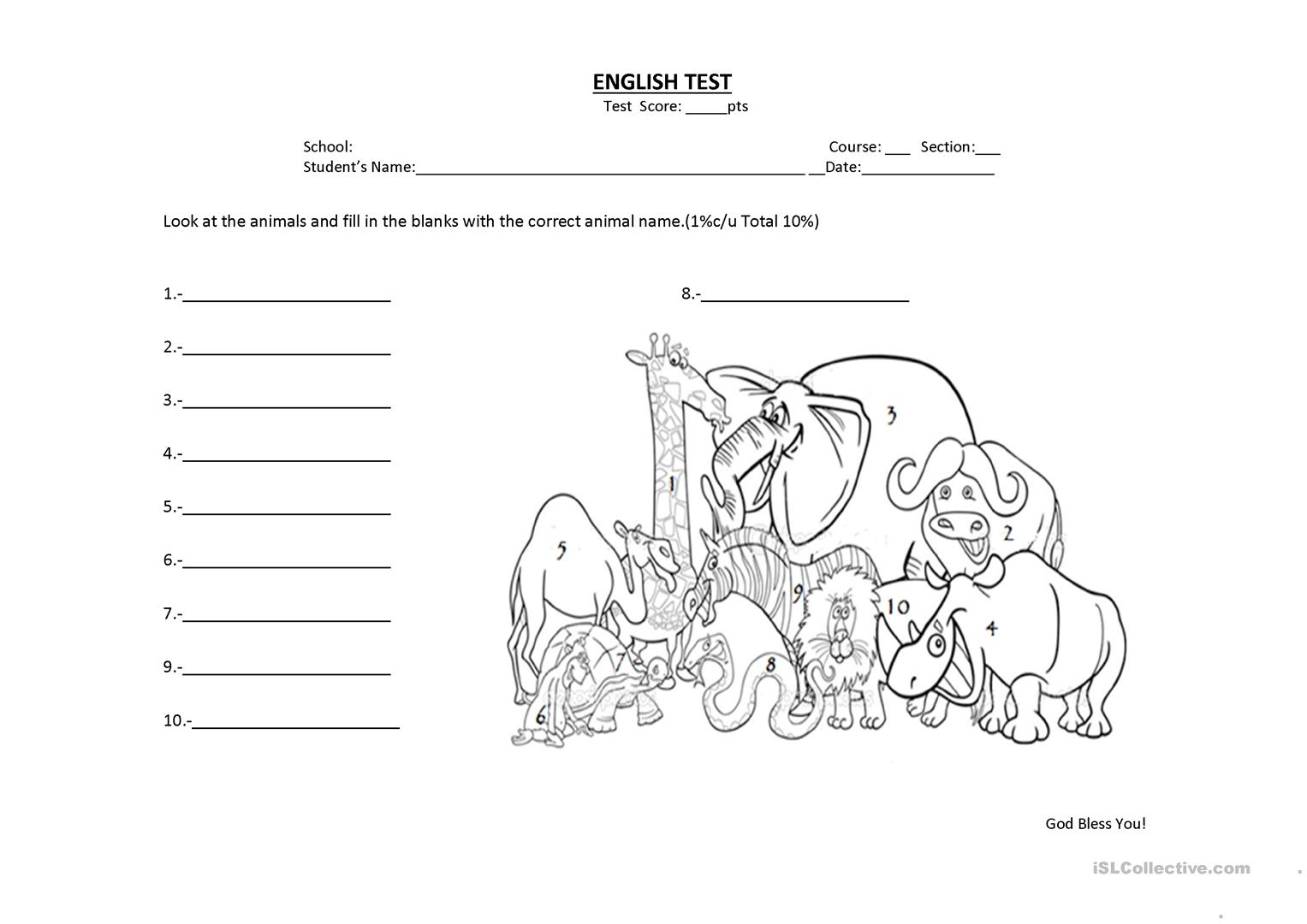 Wild Animal Quiz Worksheet