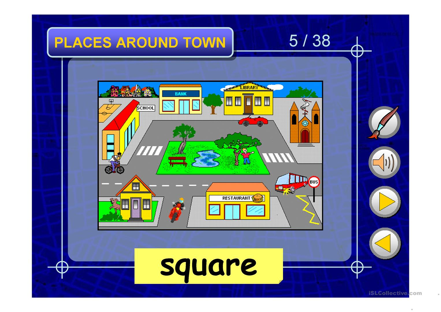 Places Around Town Ppt Worksheet