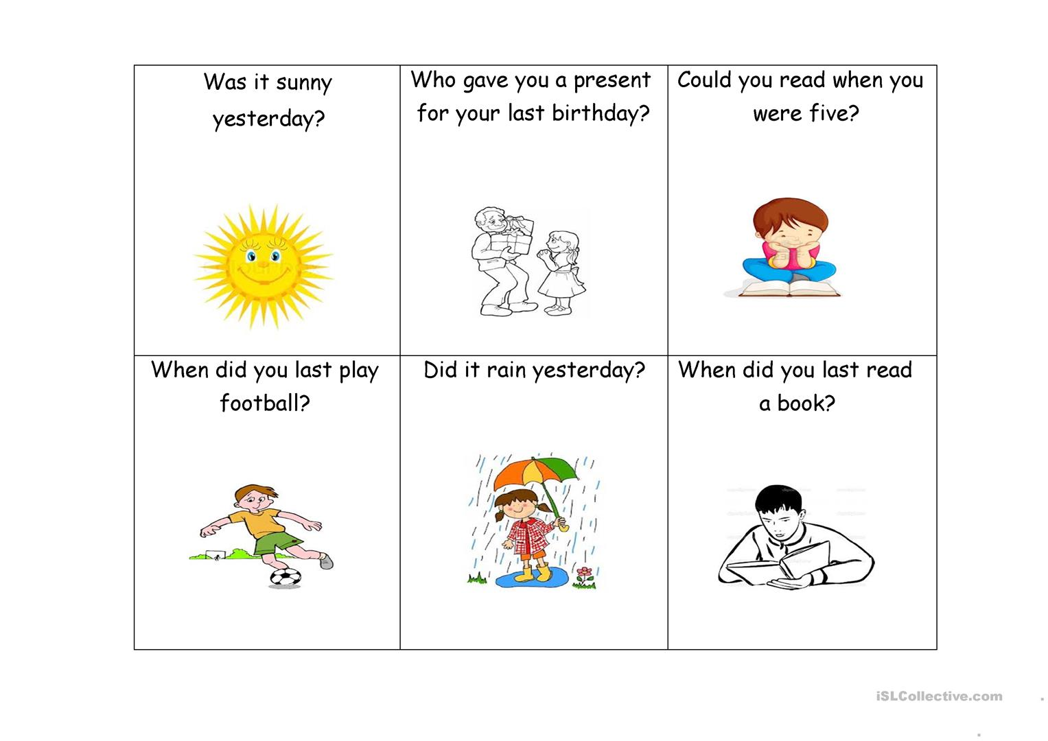 Question Cards Past Tense Worksheet