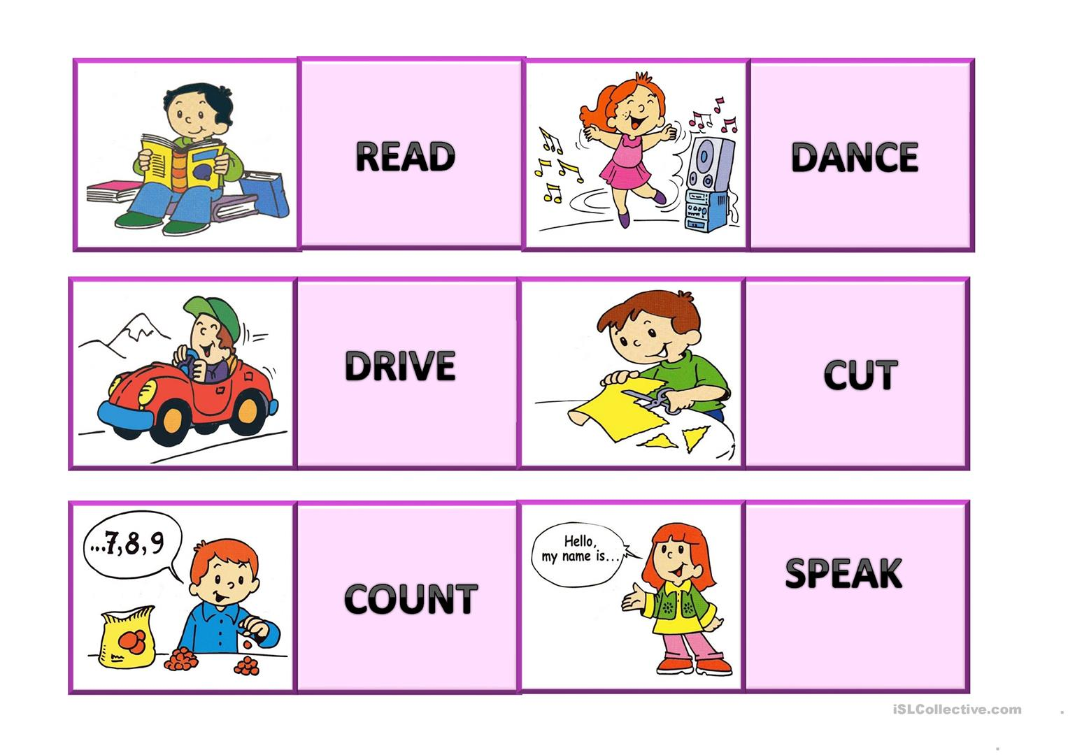 Memory Cards Verbs Worksheet
