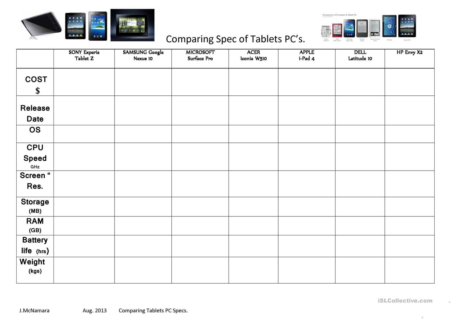 Making Comparisons Tablet Pc Specs