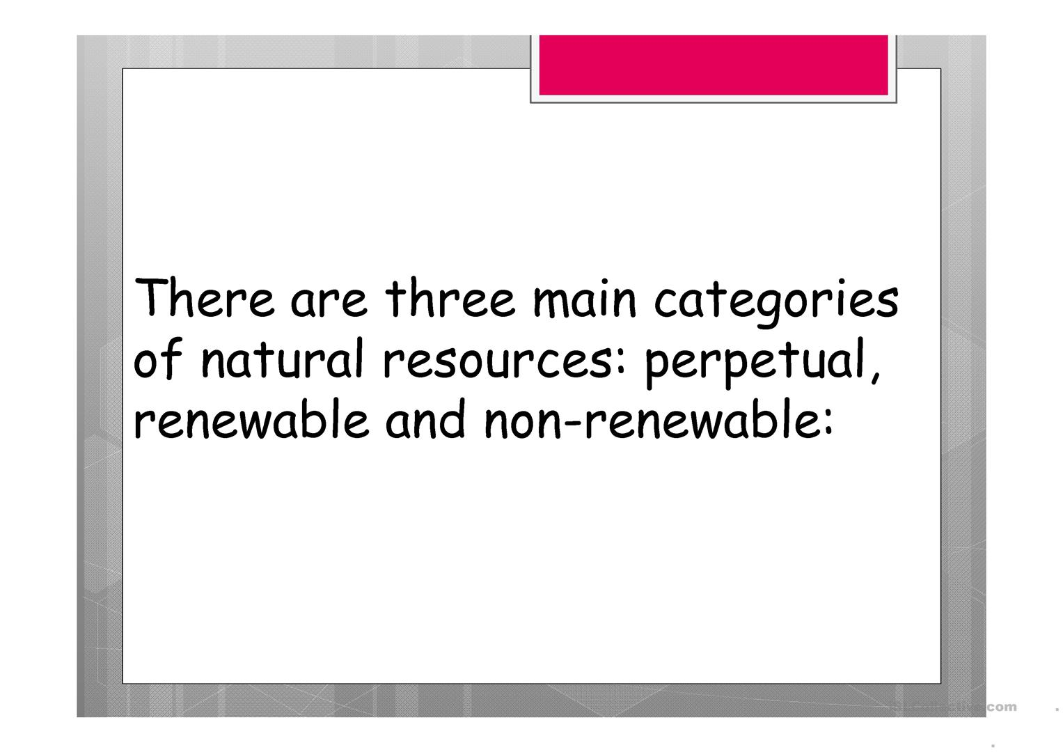 Natural Resources Worksheet