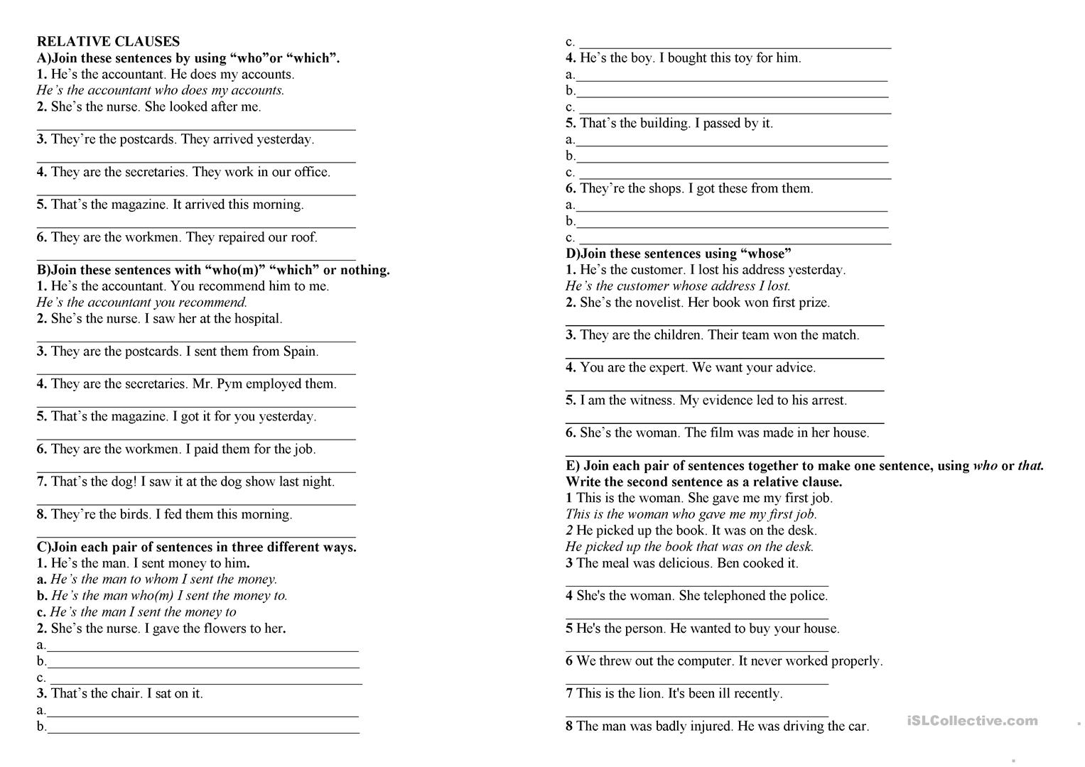 Relative Clause Who Which Whom Whose That Worksheet