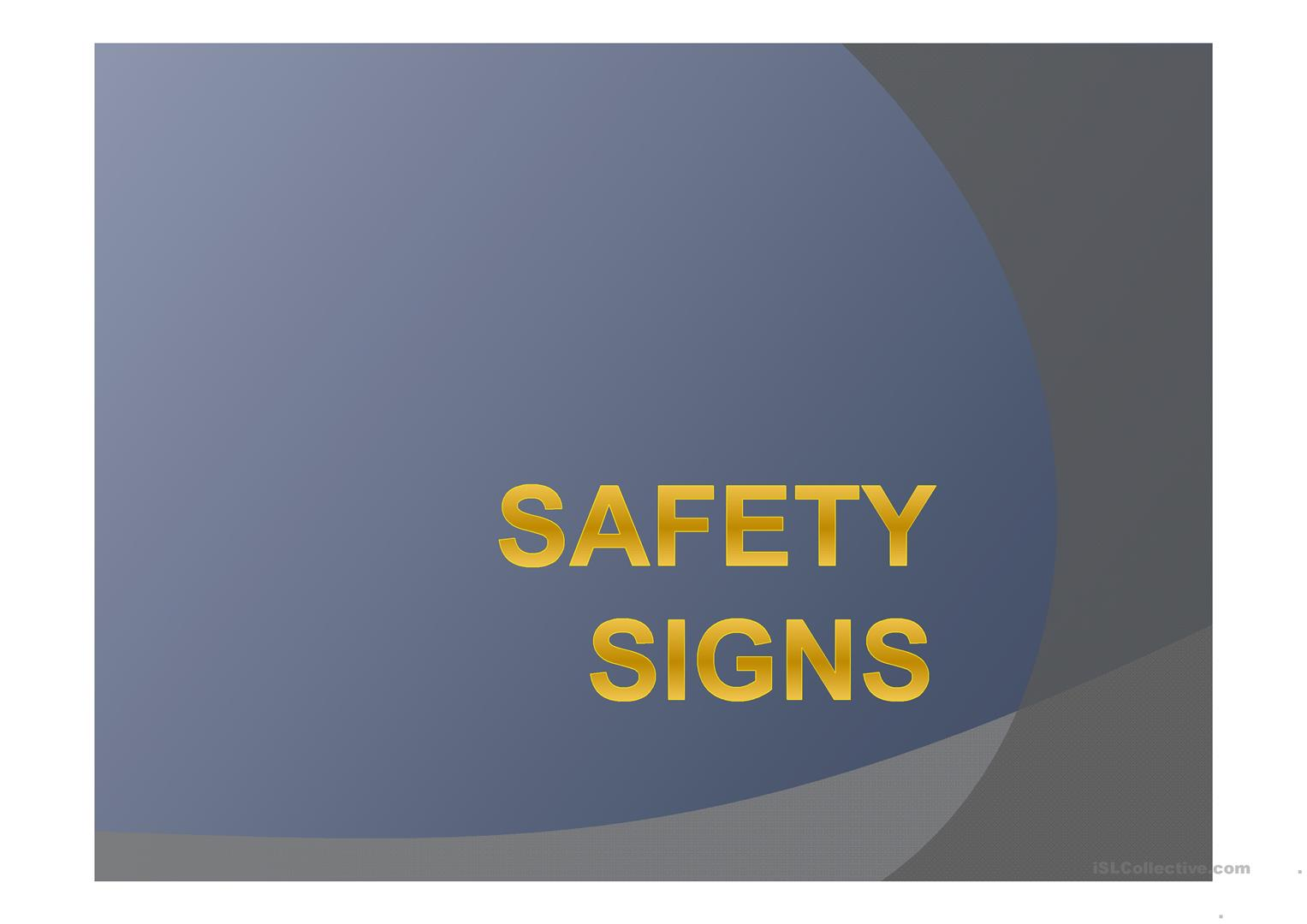 Safety Signs Worksheet