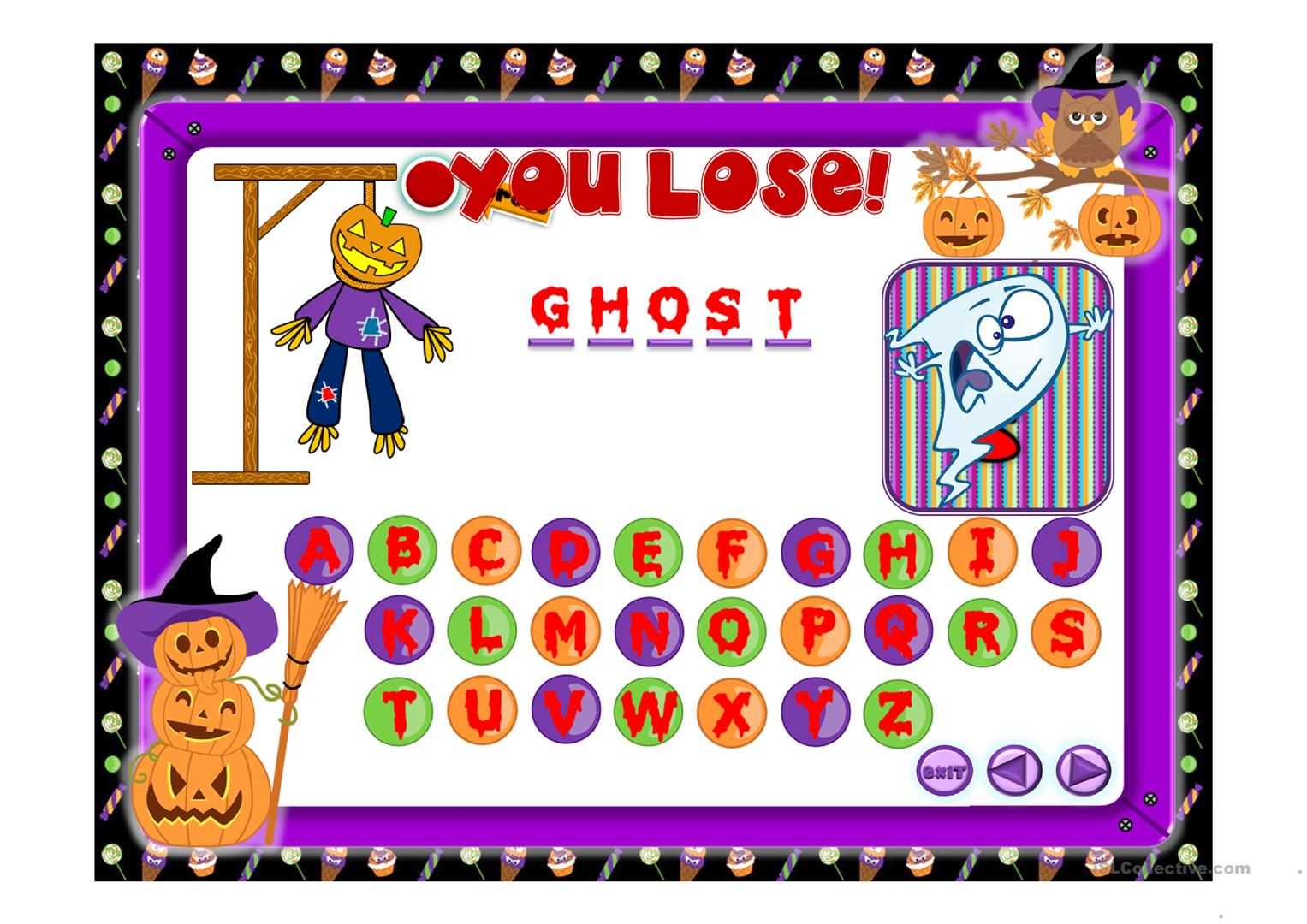 Halloween The Hangman Game Worksheet