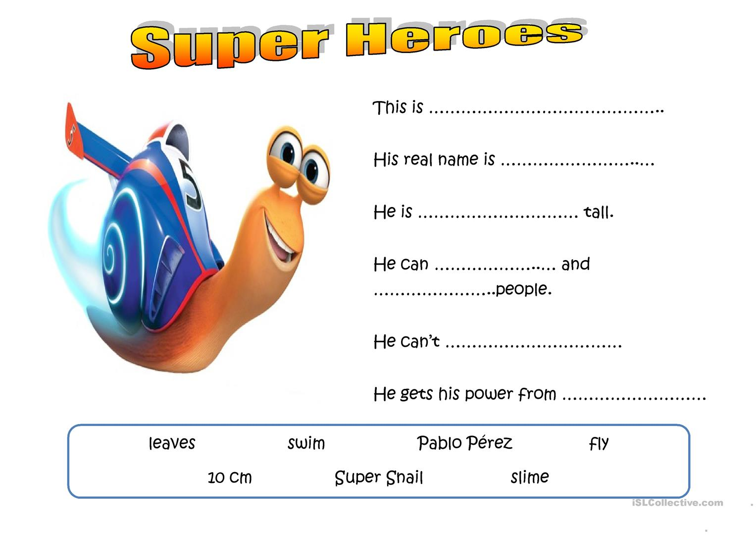 Invent A Super Hero Worksheet