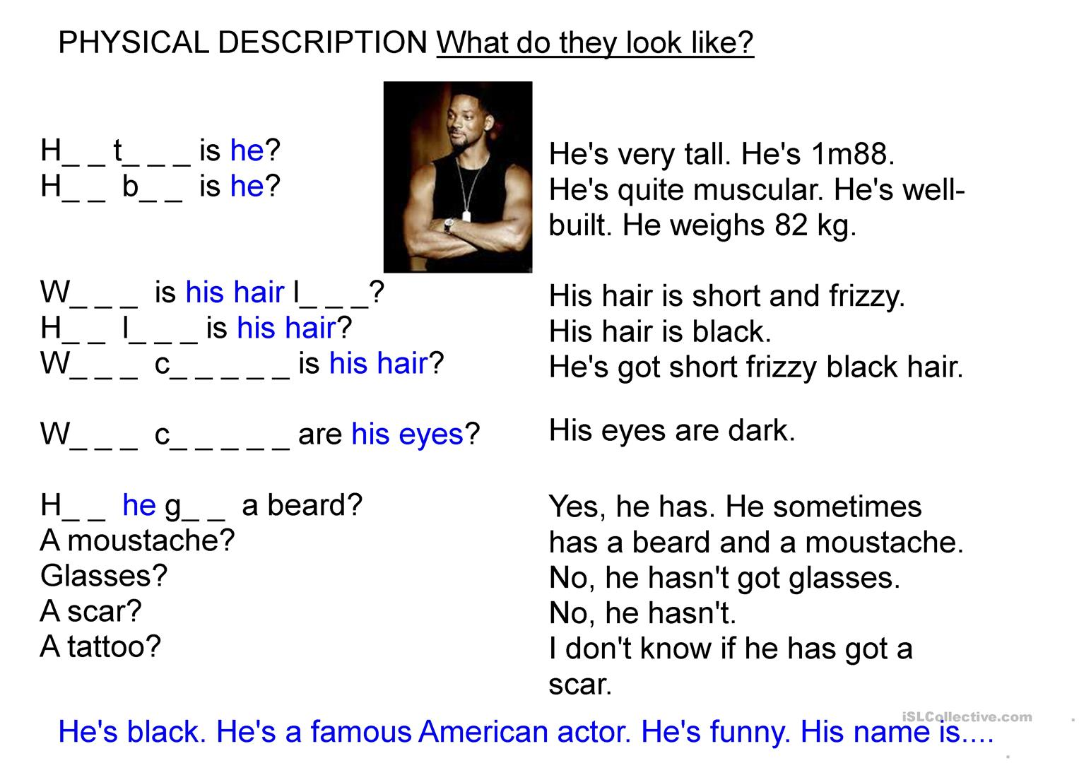 Physical Description Guessing Game