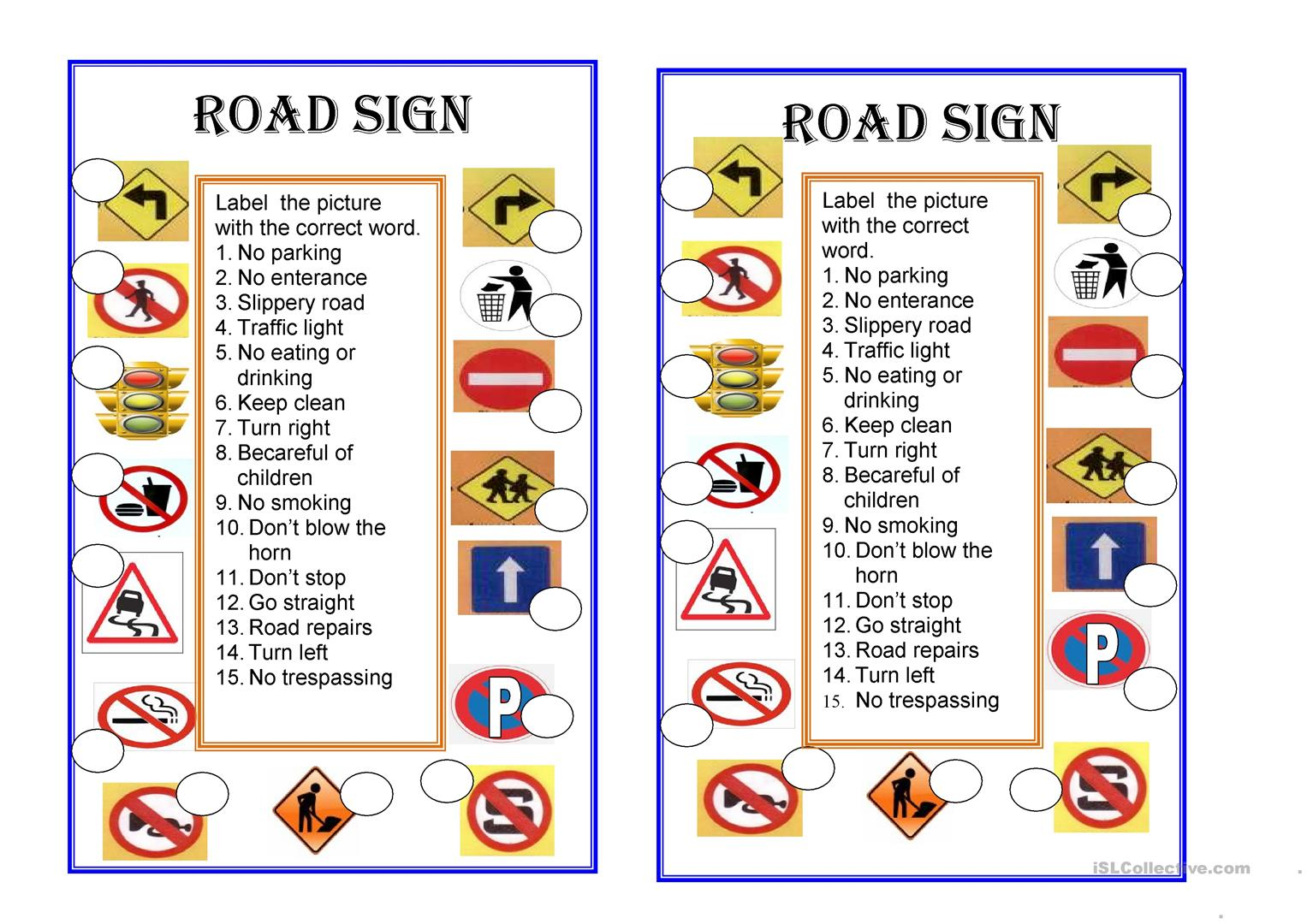 Road Signs Worksheet