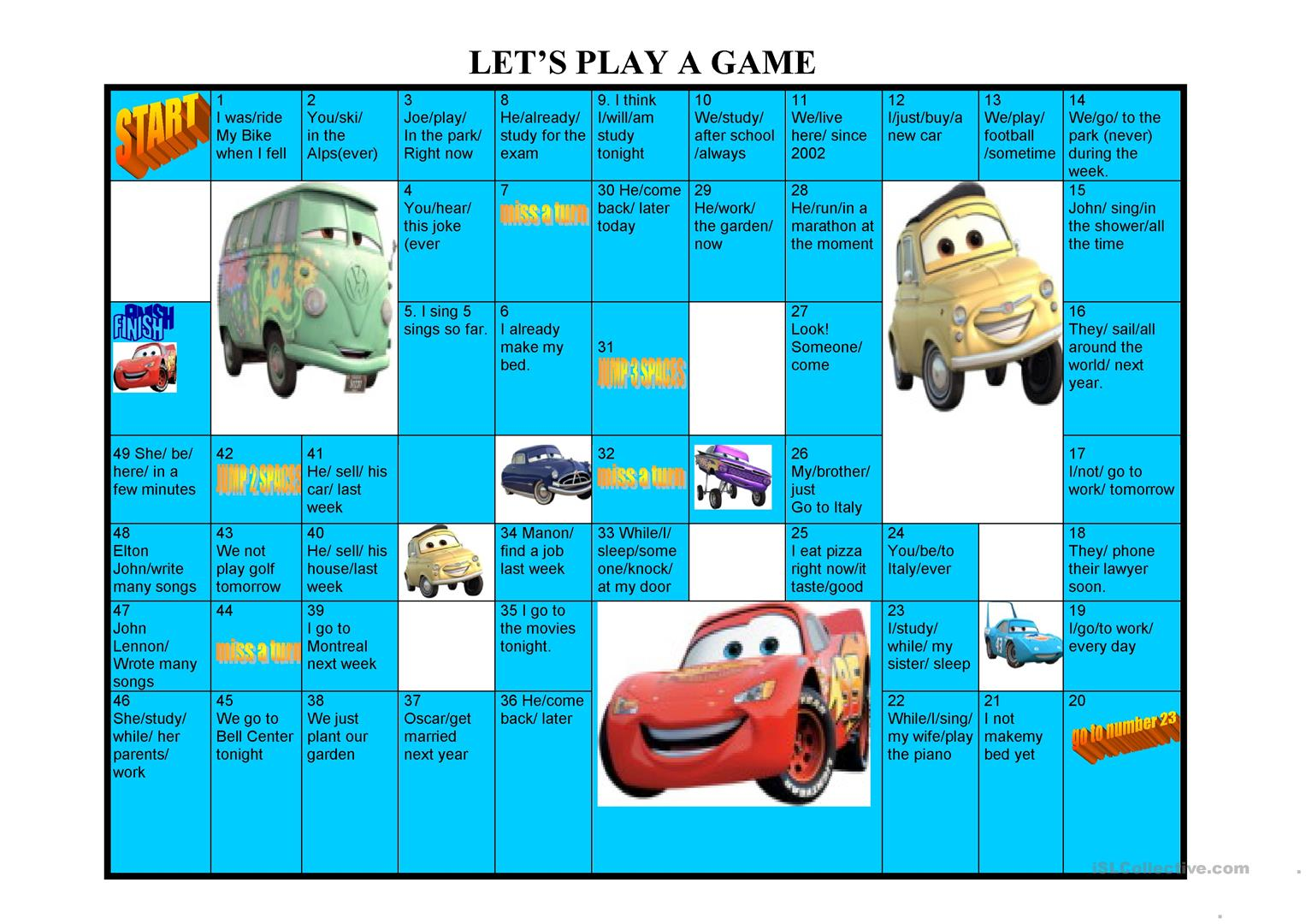 Tense Board Game Worksheet
