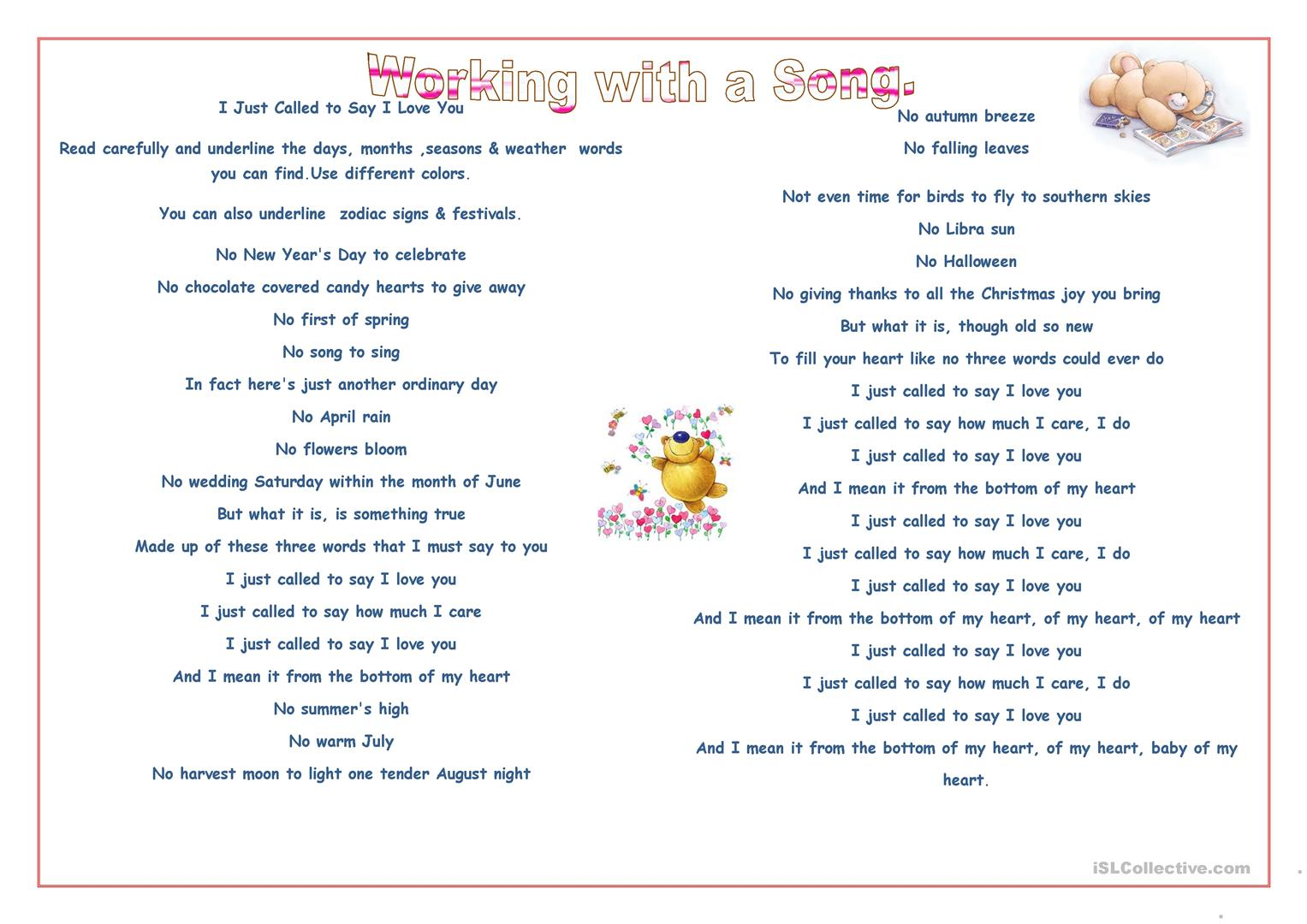 Working With A Song Worksheet