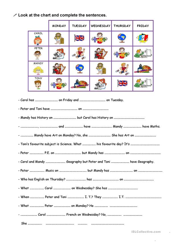 Subjects At School And Timetables Worksheet