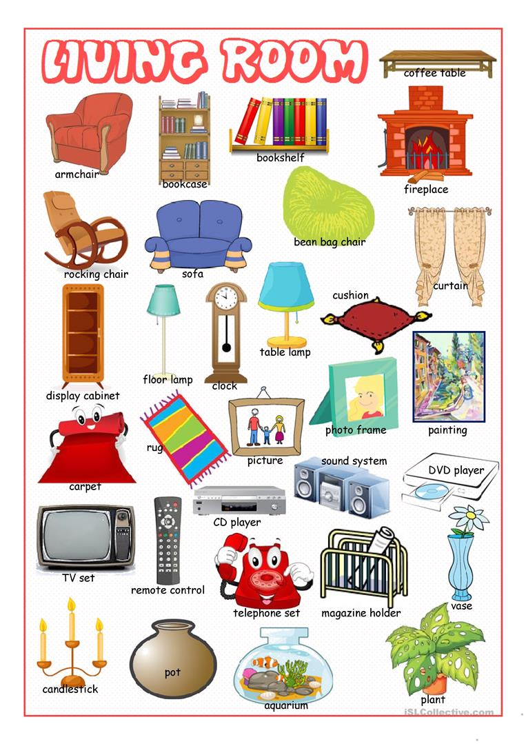 Living Room Furniture Picture Dictionary