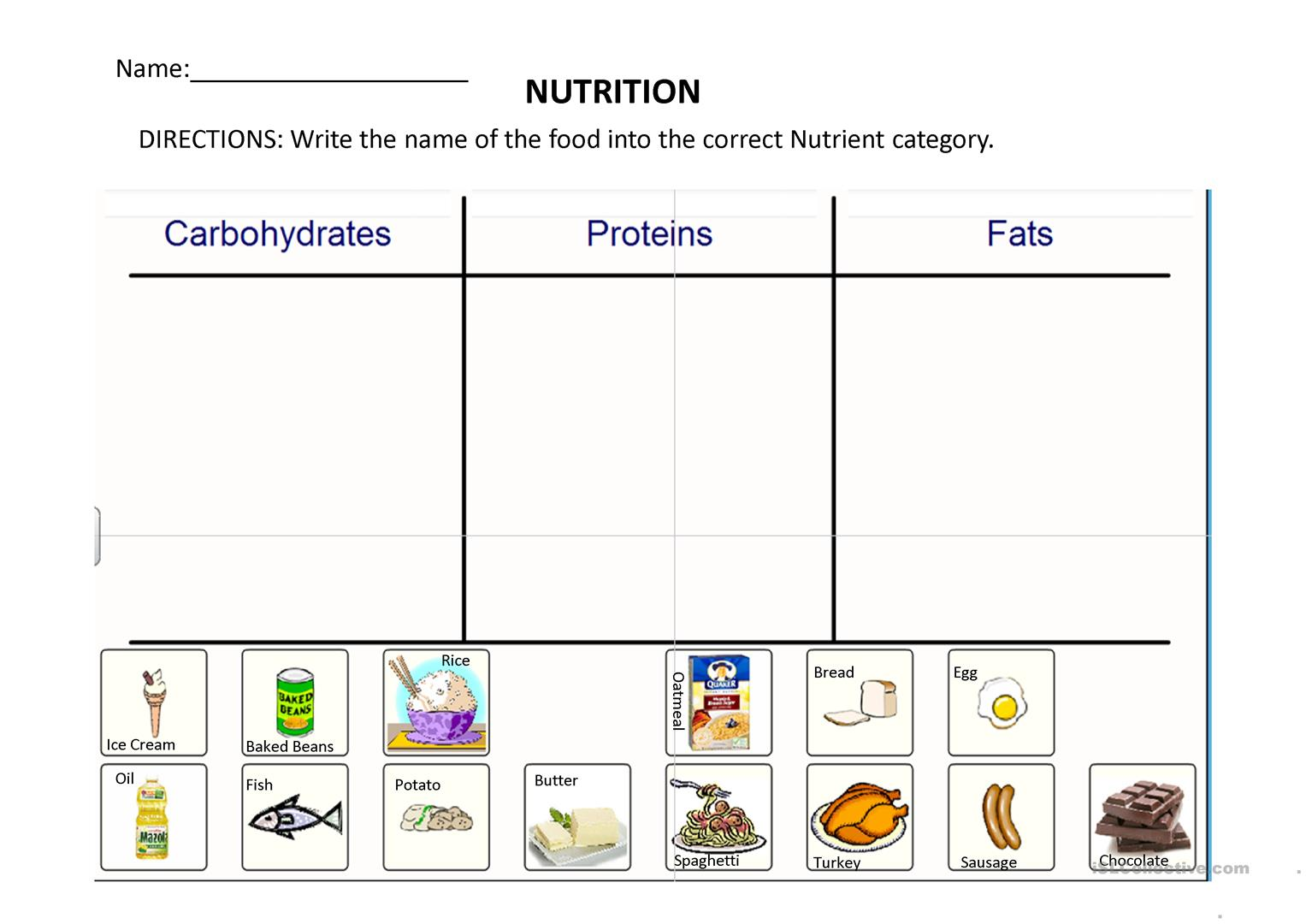 Nutrition Nutrients Worksheet