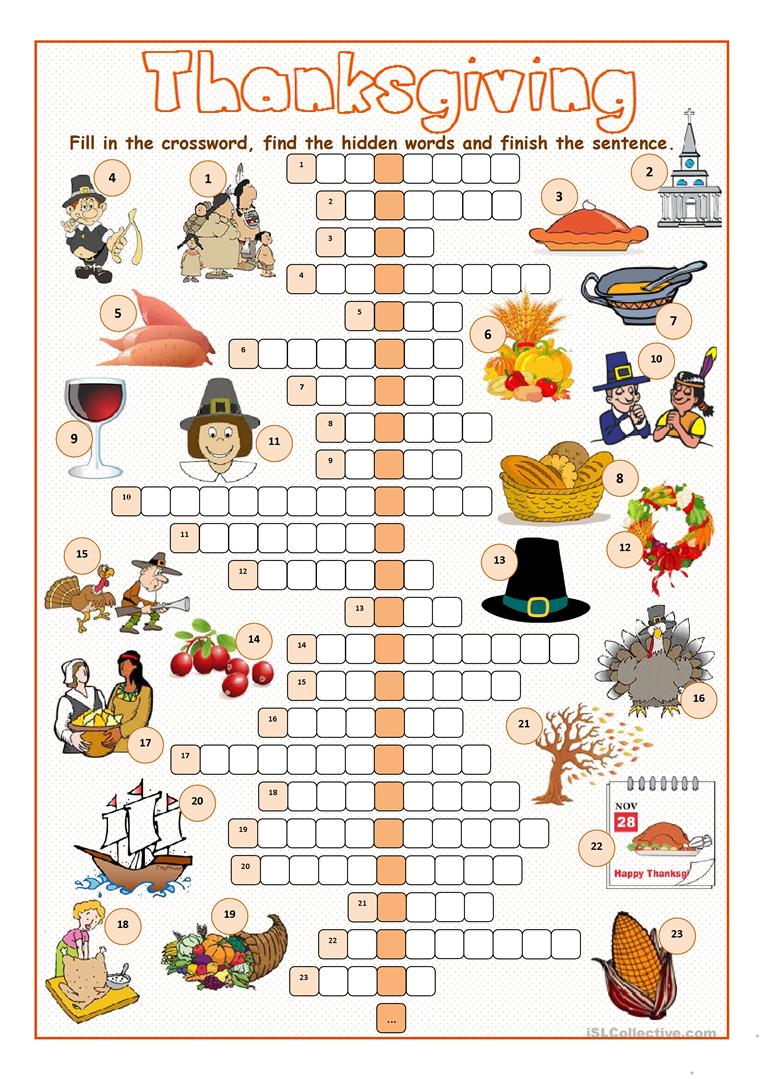 Word Answersheet Search Printable Thanksgiving