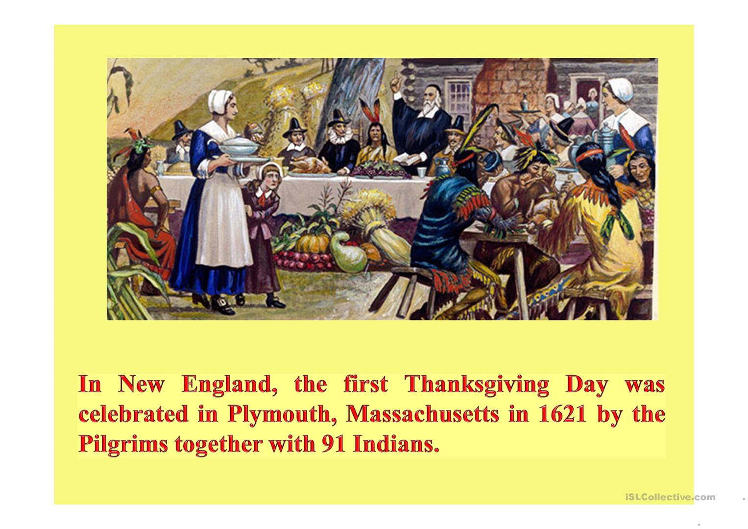 The History Of Thanksgiving Day Worksheet