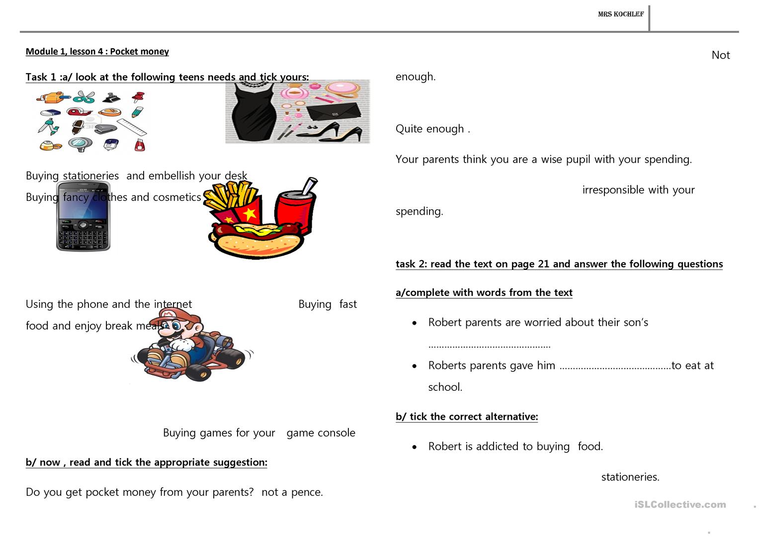 9th Form Lesson Worksheet