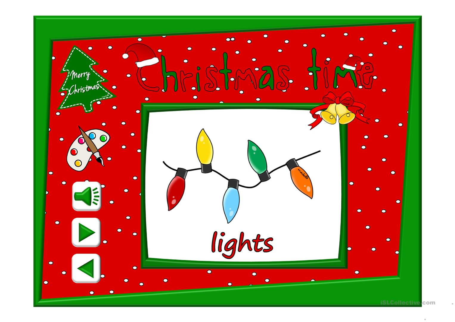 Christmas Time Vocabulary With Sound Worksheet