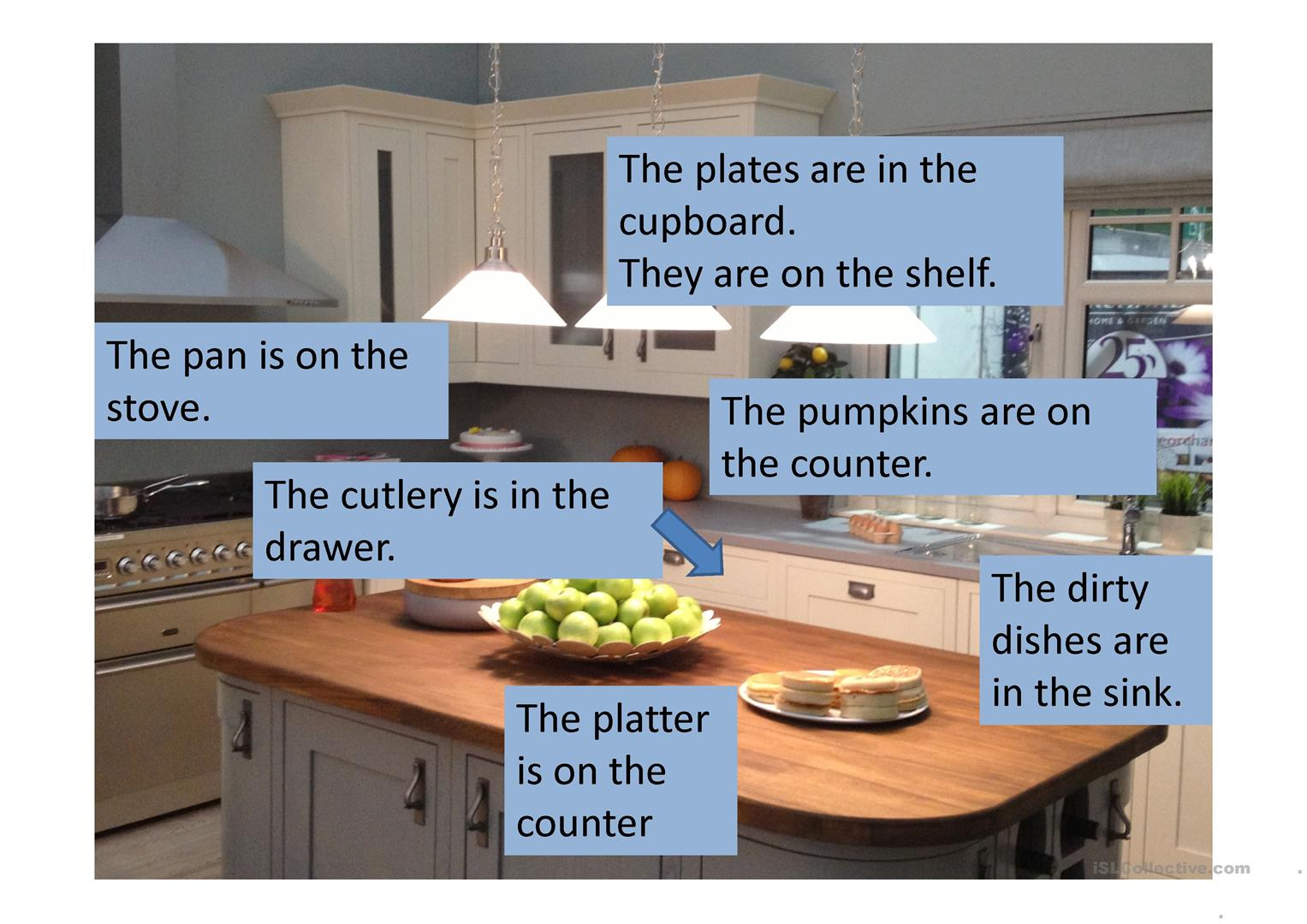 Kitchen With Prepositions Worksheet