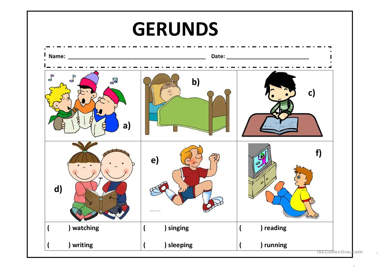 Gerunds Worksheet
