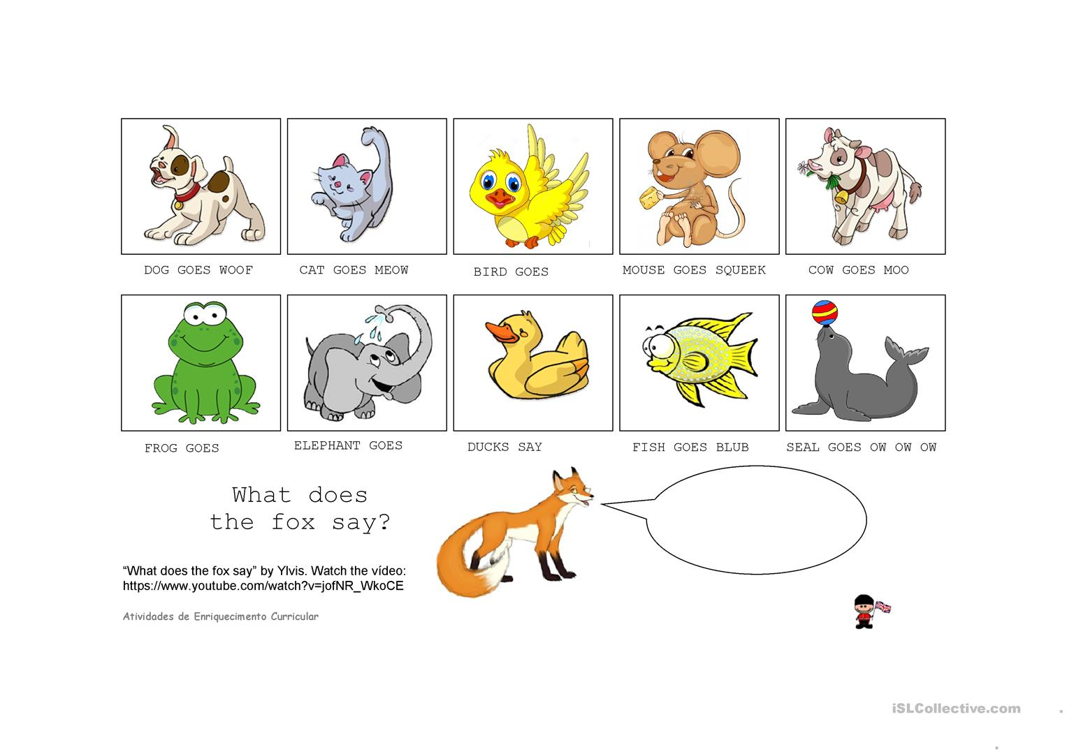 The Soud Of Animals What Does The Fox Say Worksheet