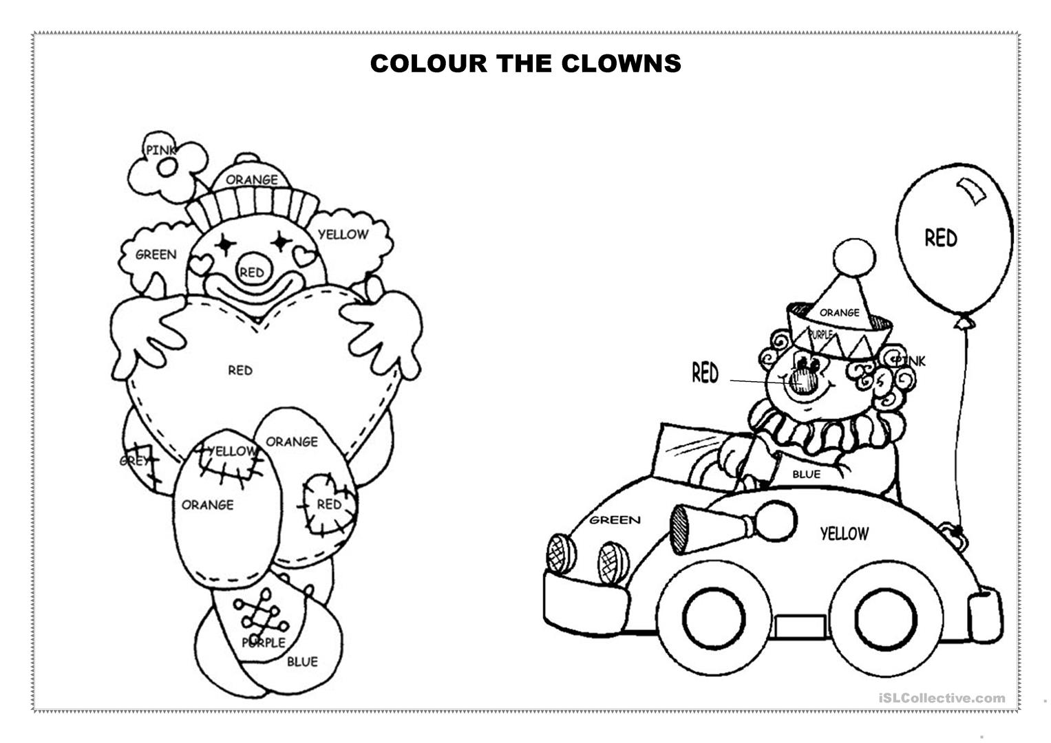 Colour The Clowns Worksheet