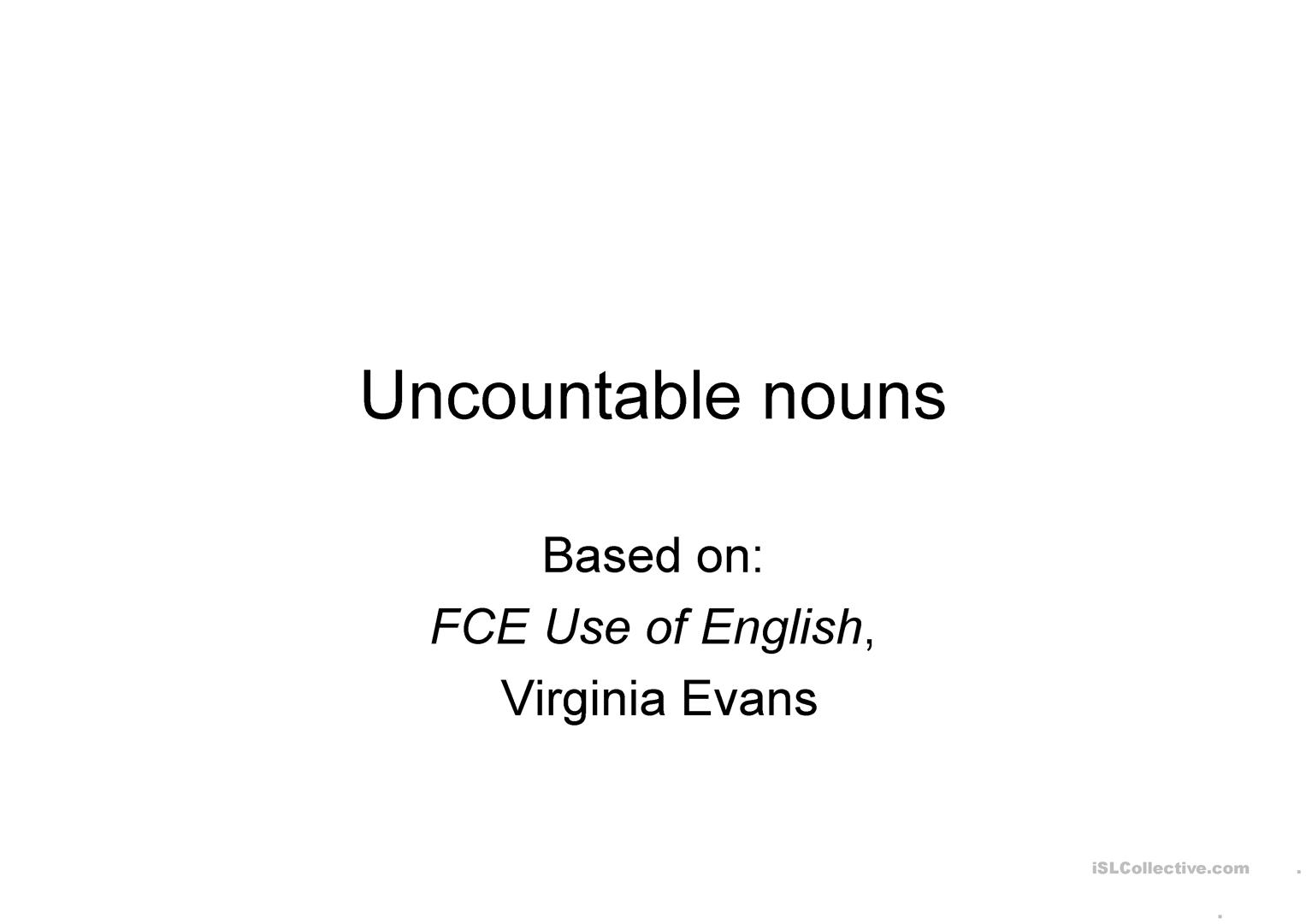 Uncountable Nouns Worksheet