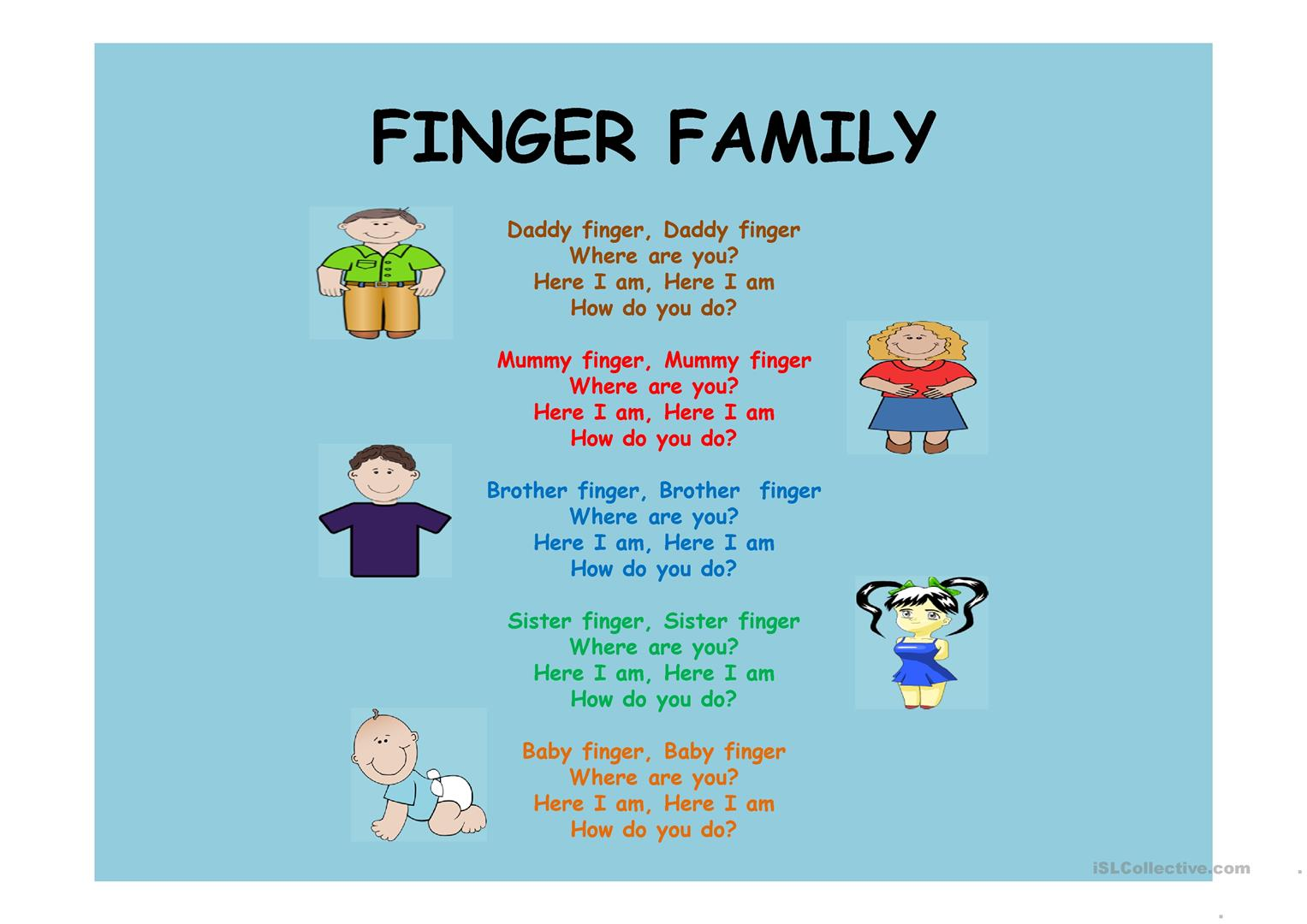 Finger Family Worksheet