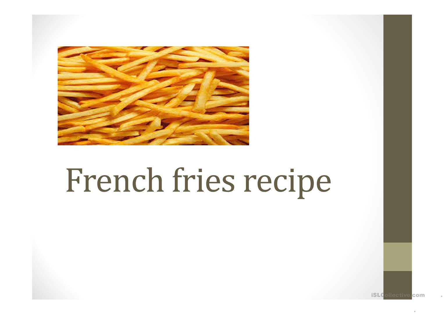 French Fries Recipe Worksheet