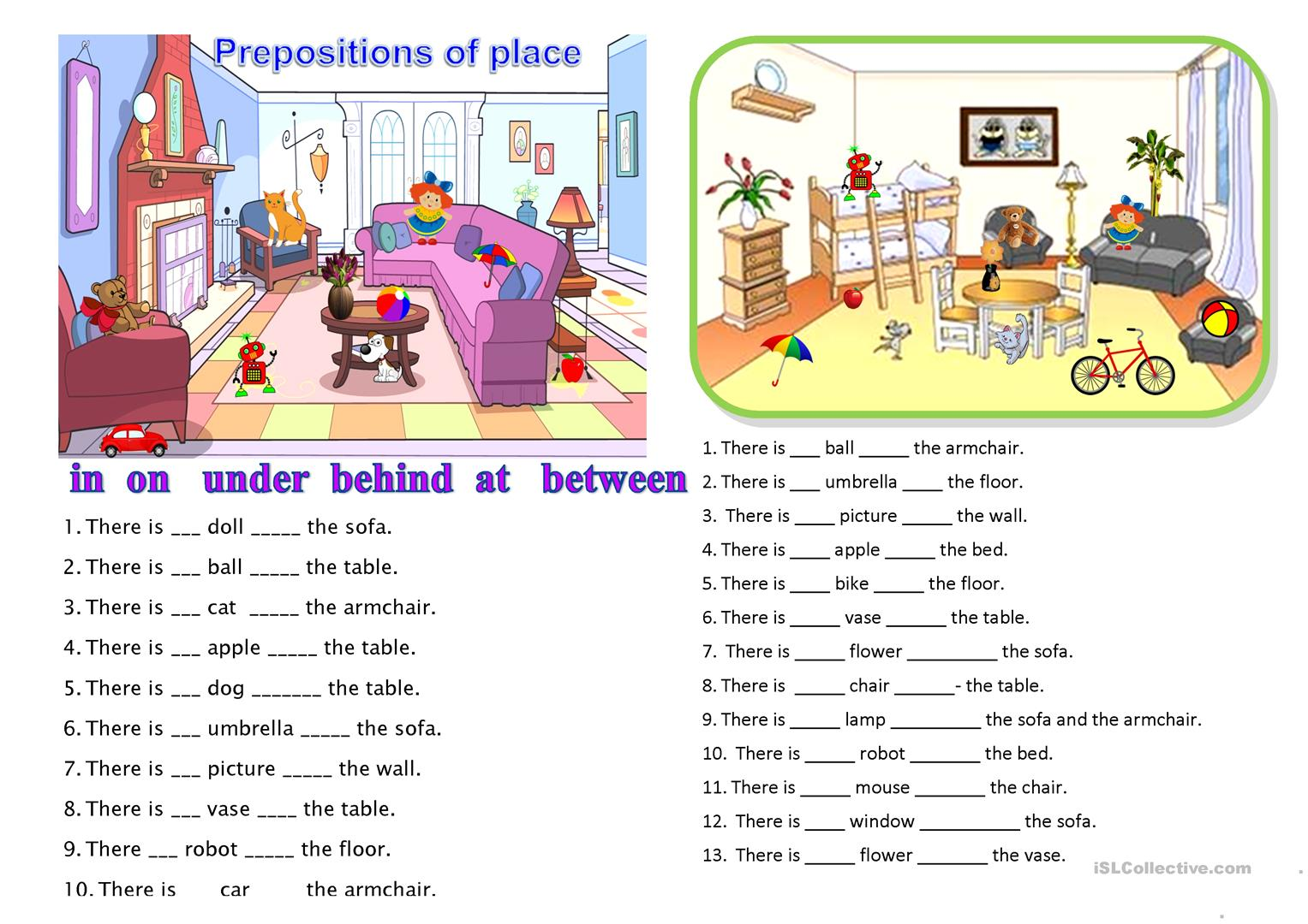 Worksheet Prepositions Esl