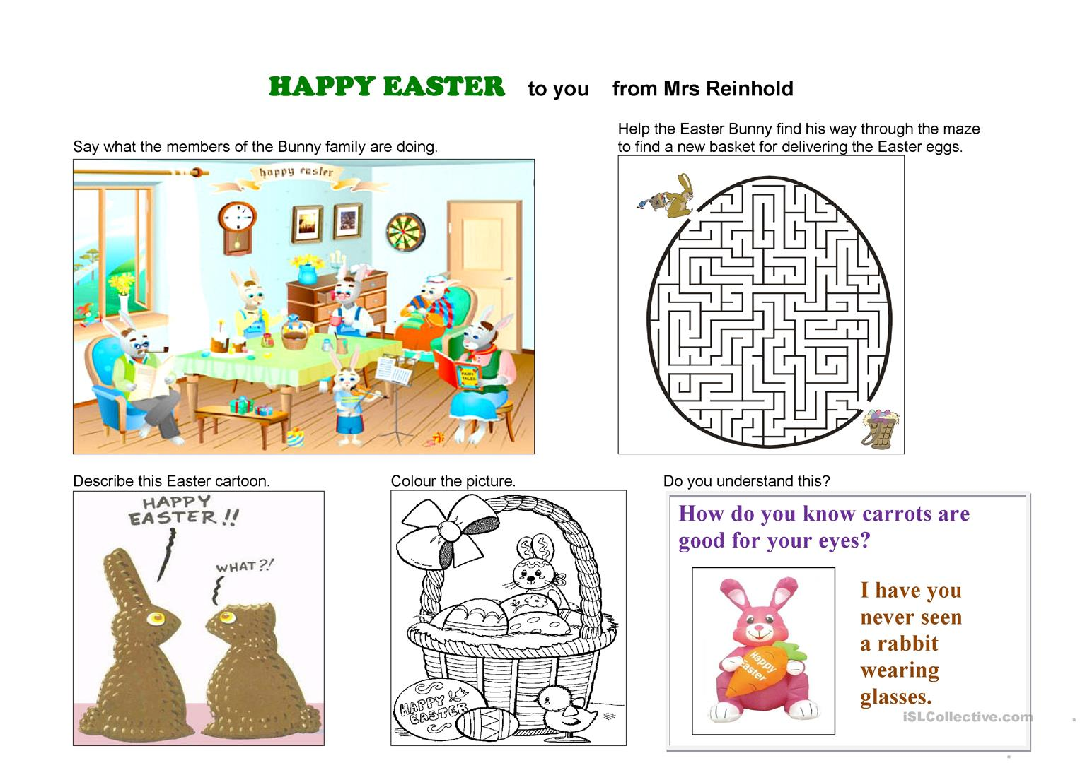 Happy Easter To You Worksheet