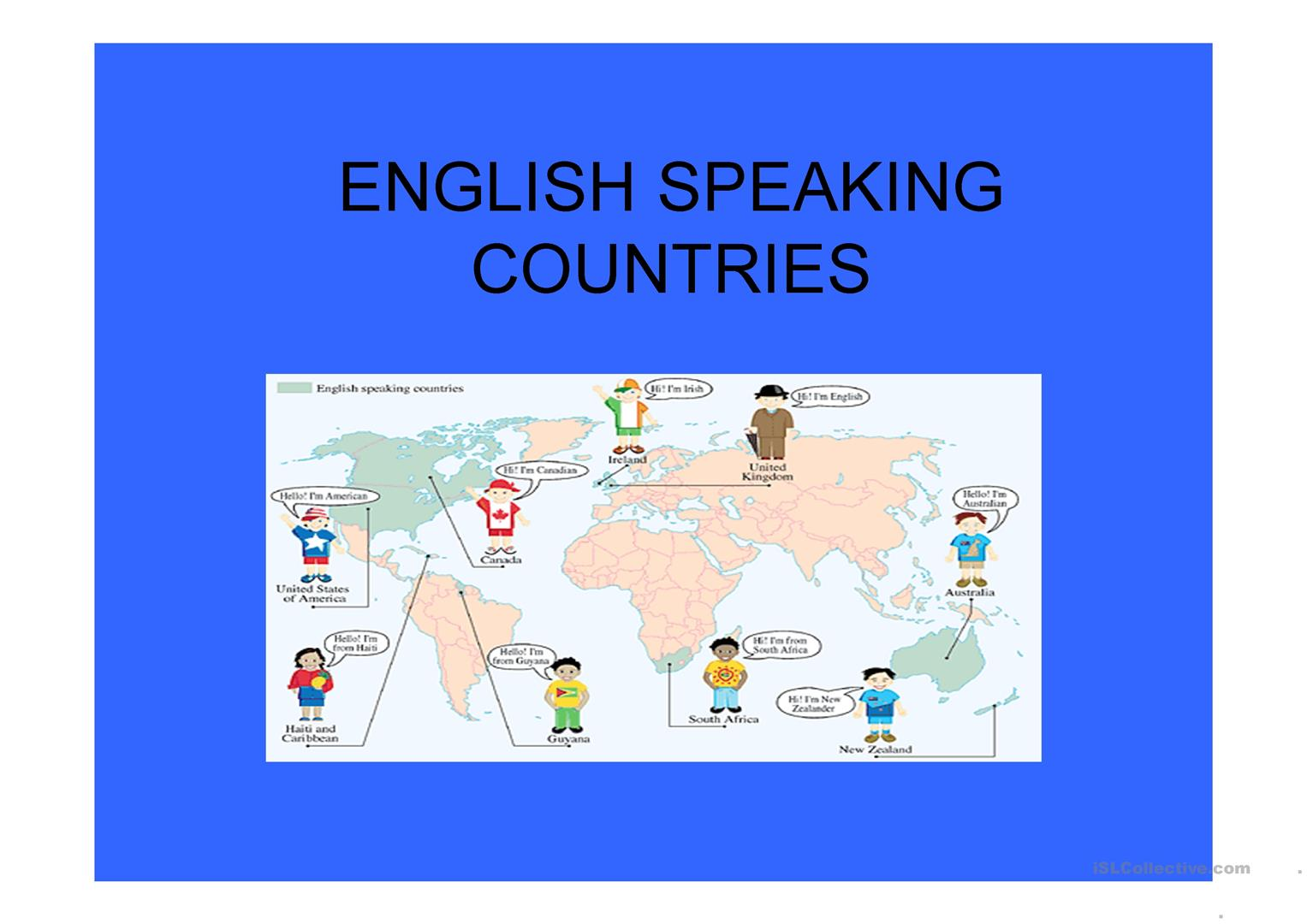English Speaking Countries Worksheet