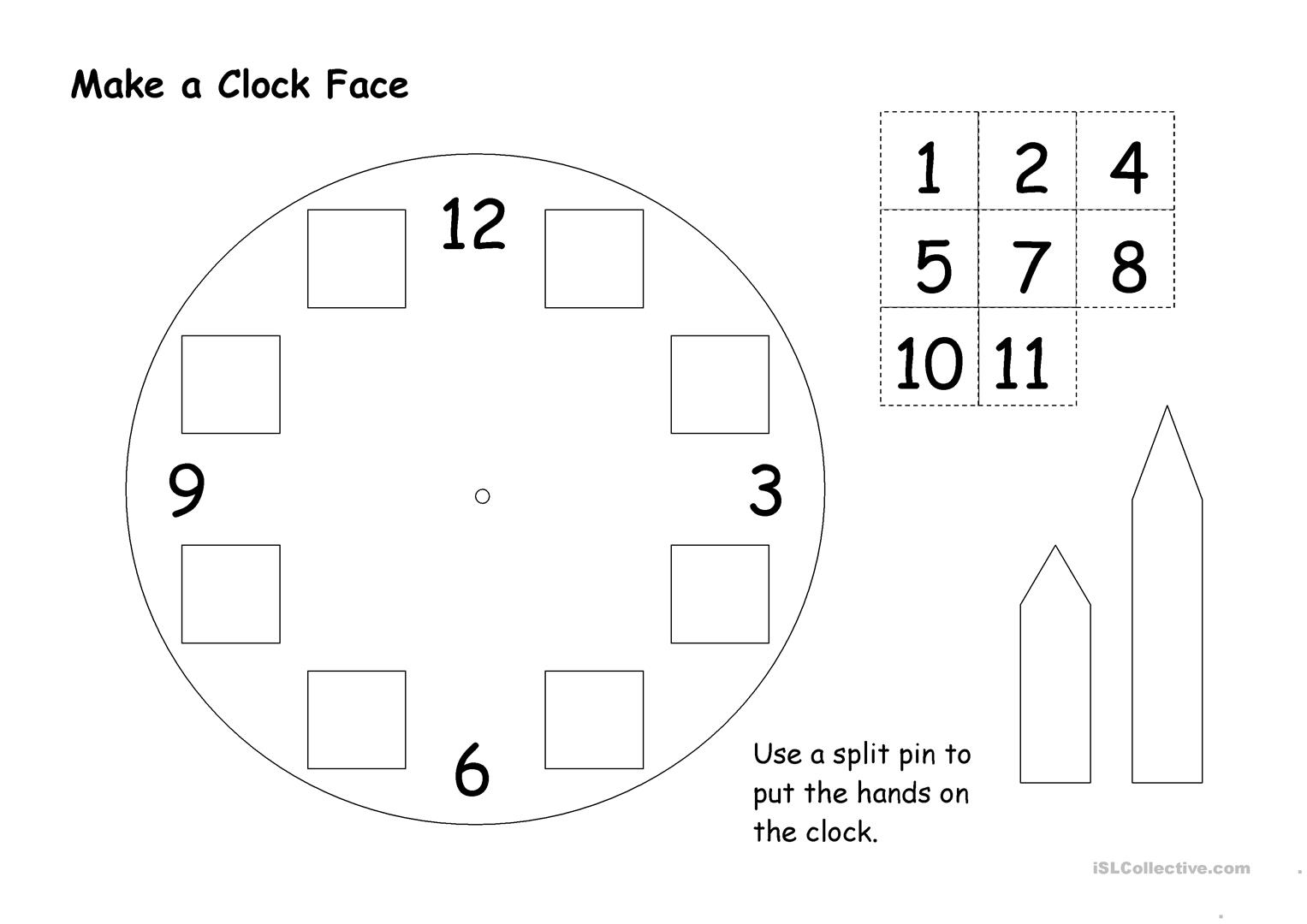 Make A Clock Face Worksheet