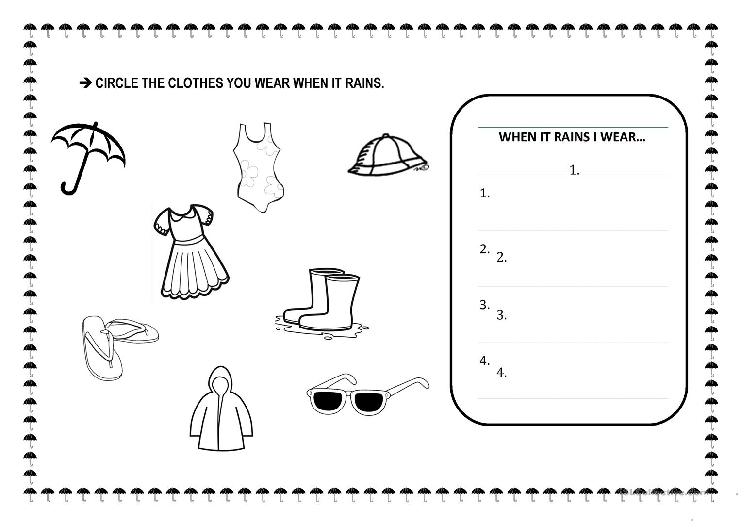 Rain Worksheet For Preschool Science