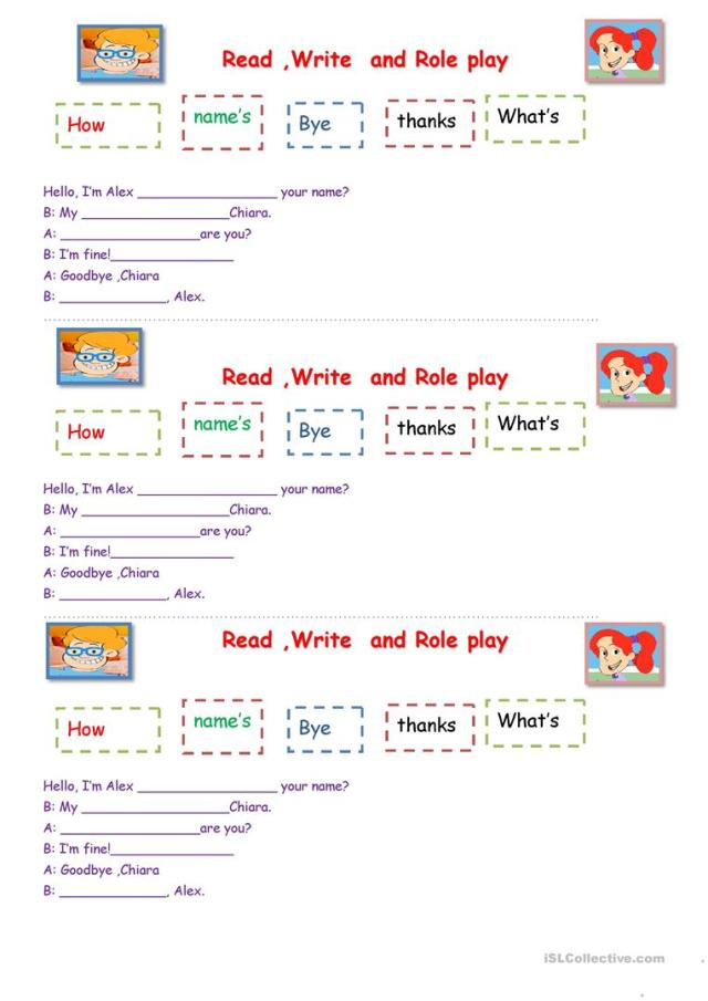 Read, Write & Role play. - English ESL Worksheets for distance