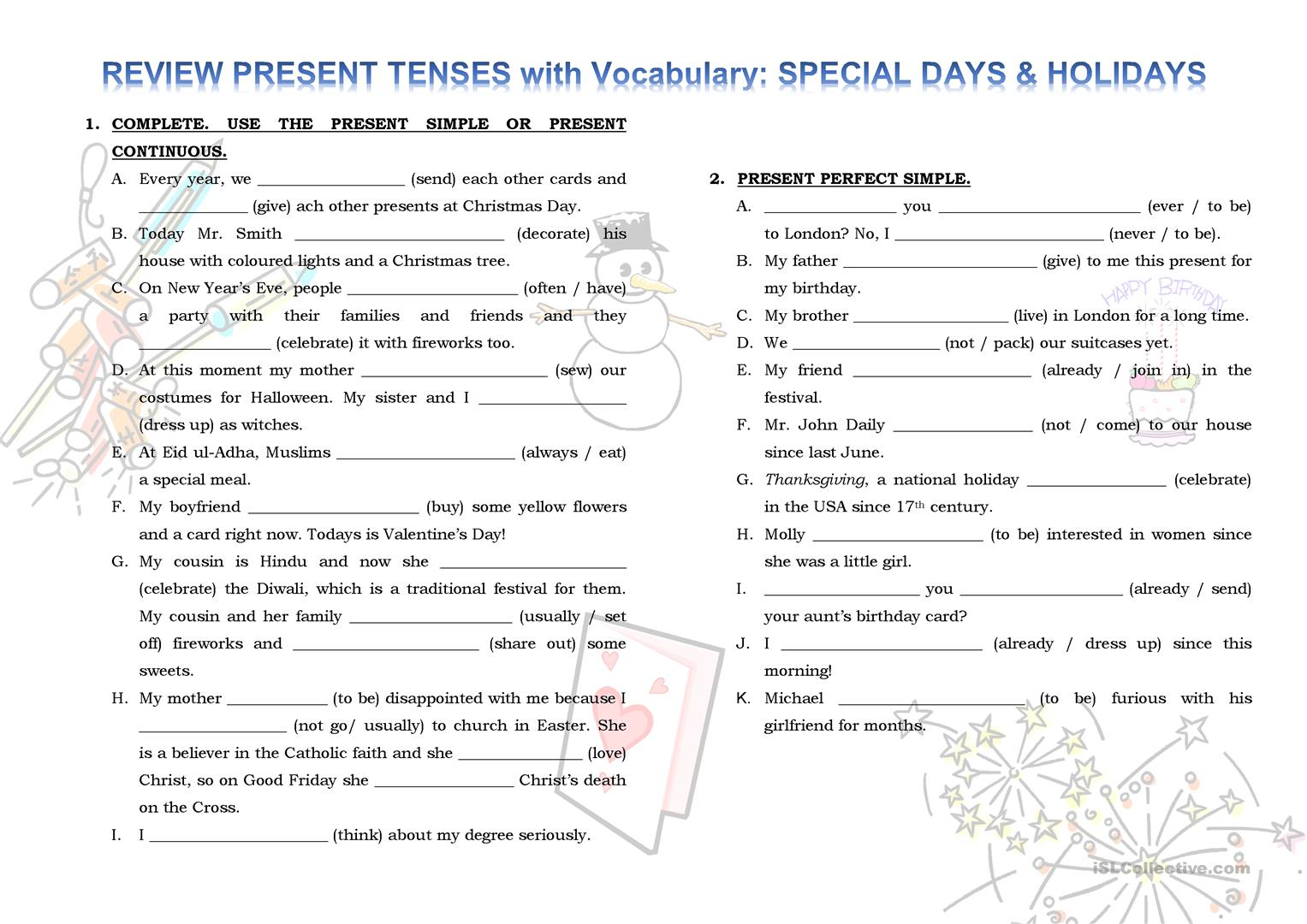 Review Present Tenses