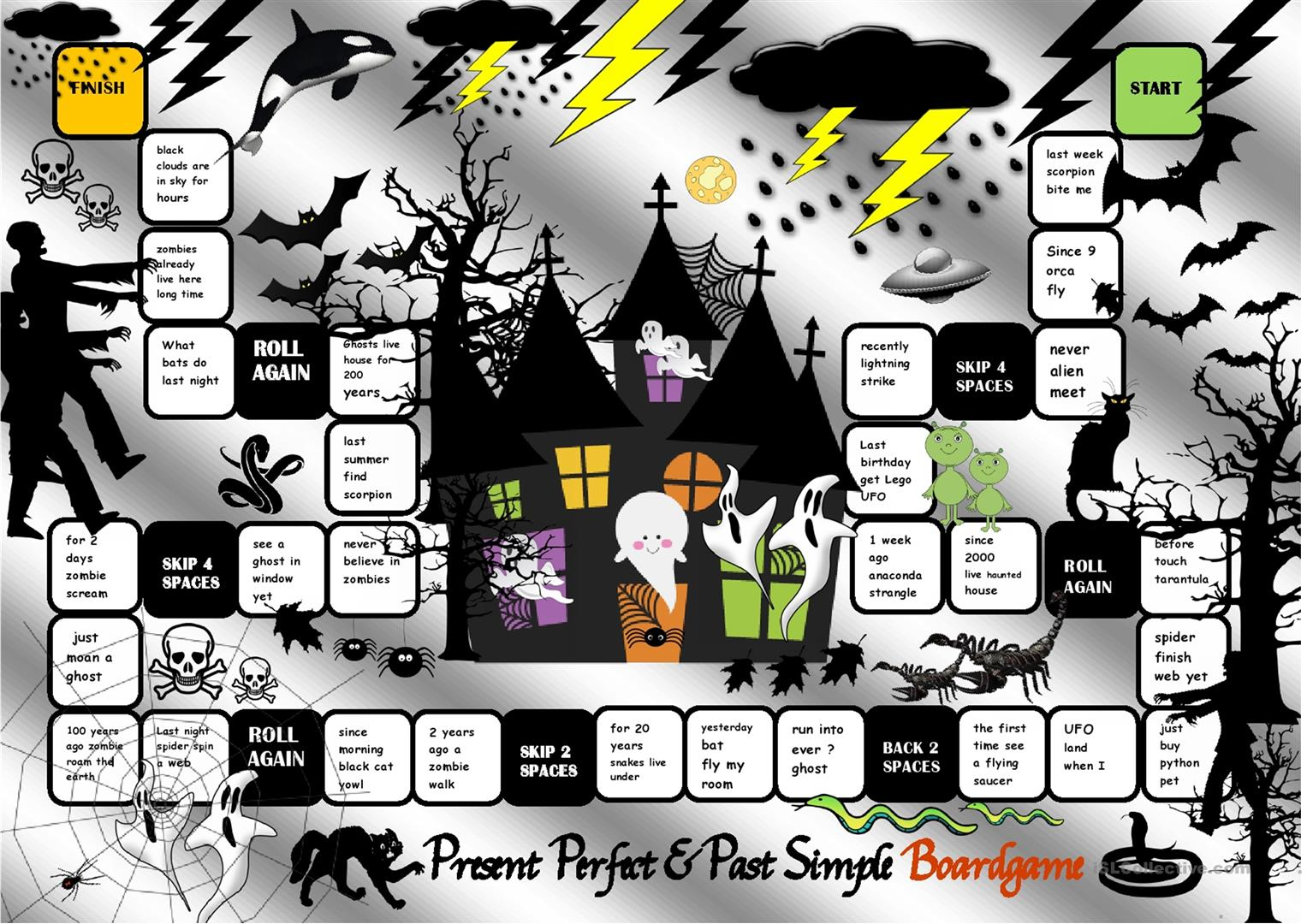 Halloween Board Game Speaking Activity Featuring Present