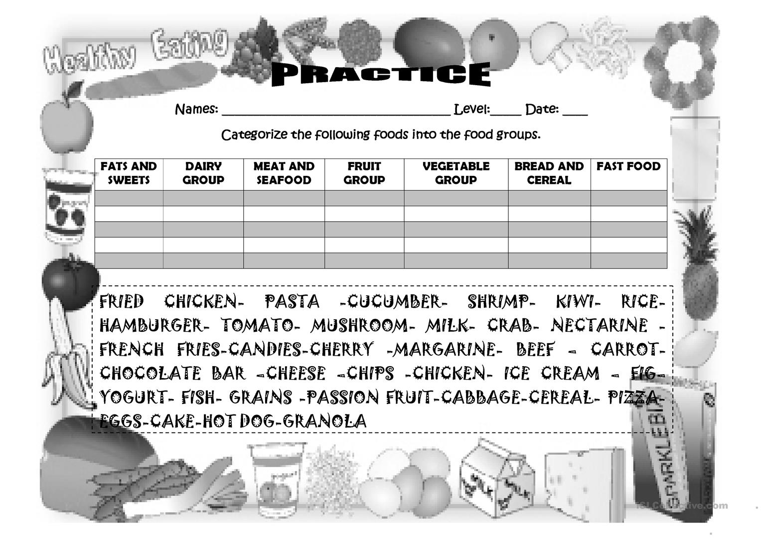 Food Group Practice