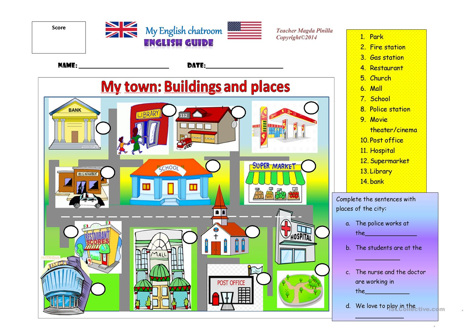 My Town Places And Buildings Worksheet